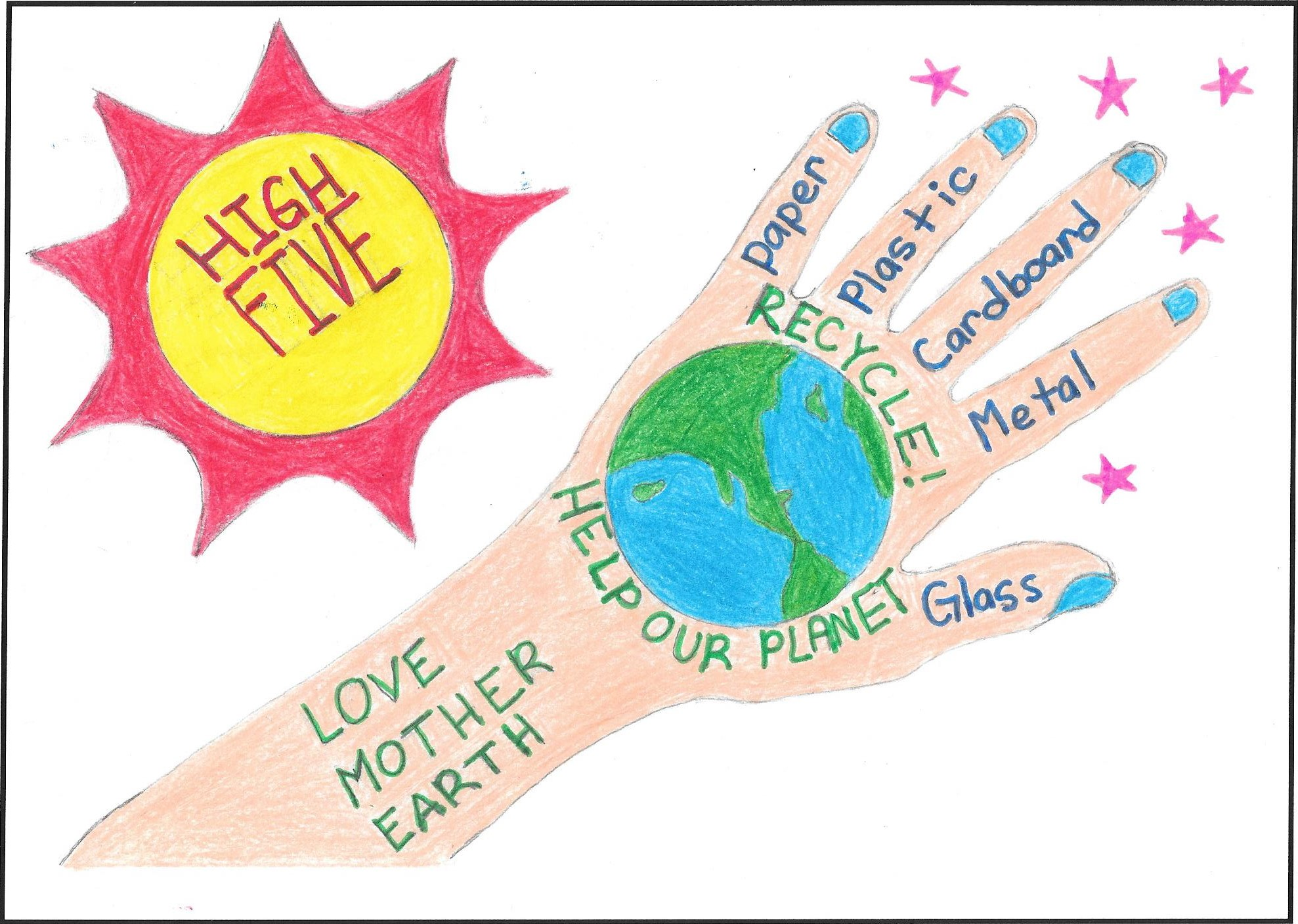 "Art by Sara C., 2nd Grade, Aloha Huber park K-8 for Beaverton School District ""Stop the Waste"" 2018 Student Art Calendar"