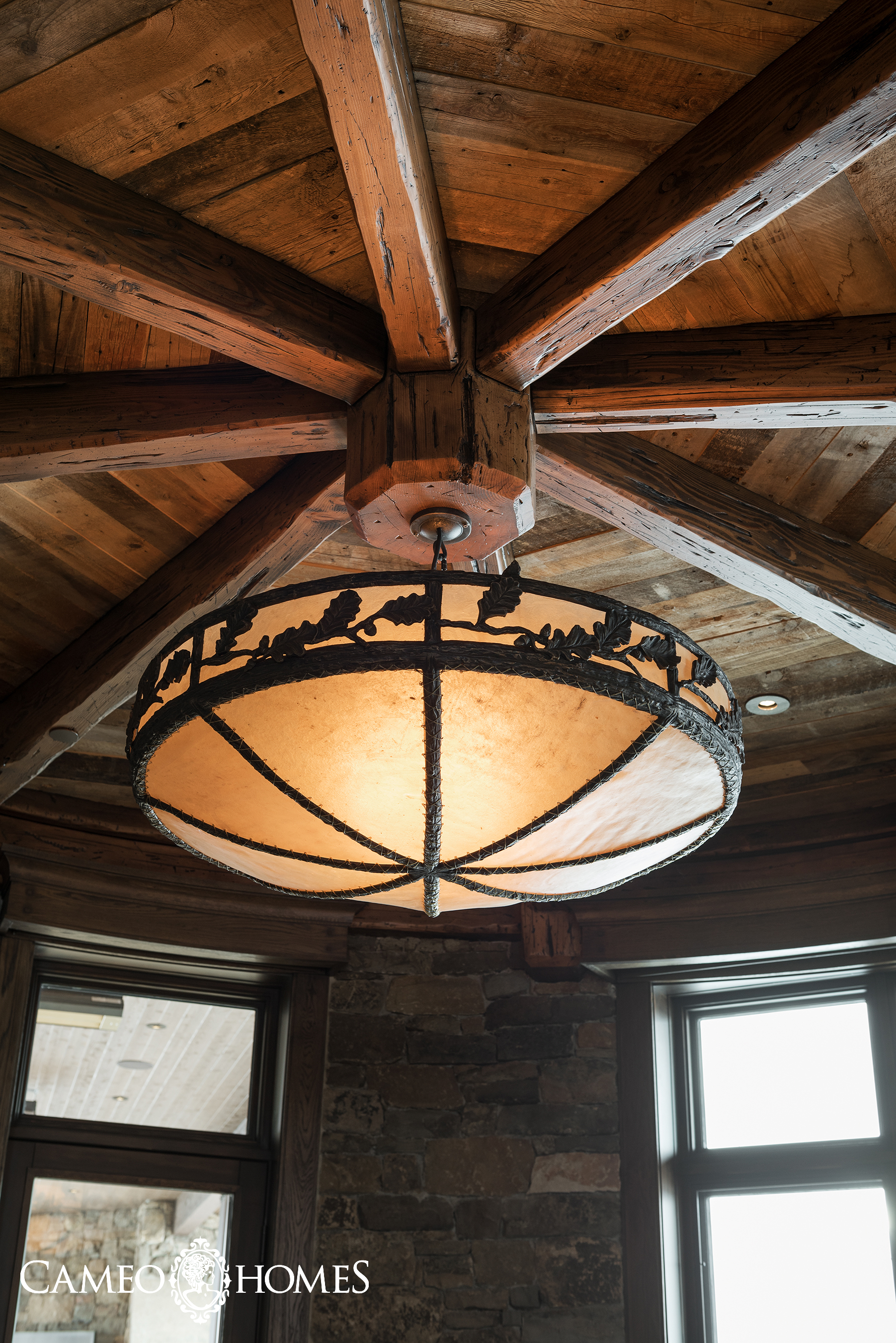 Rustic Chandelier in Hearth Room.