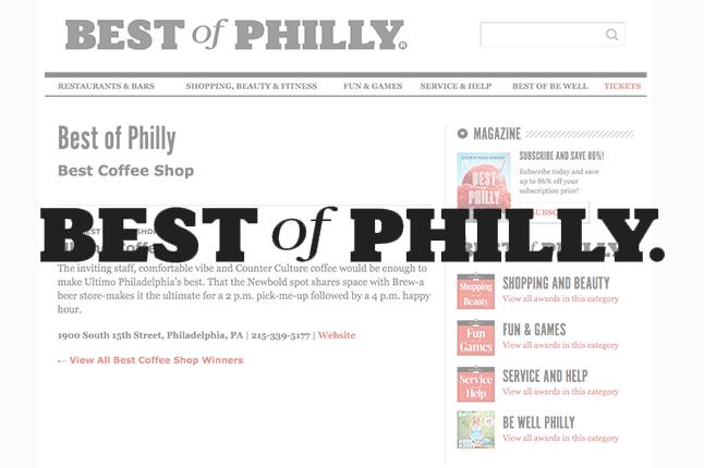 Philadelphia Magazine //Best Coffee Shop