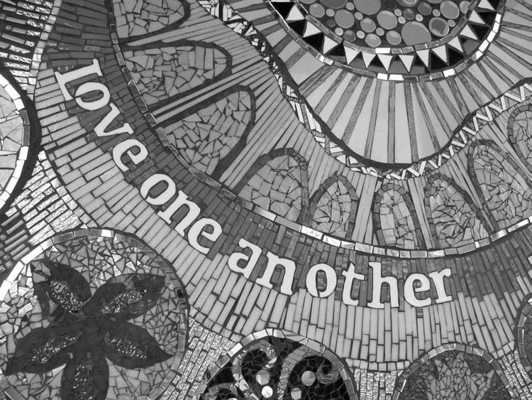A detail of the mosaic mural created by elementary school students in Katherine England's art class.