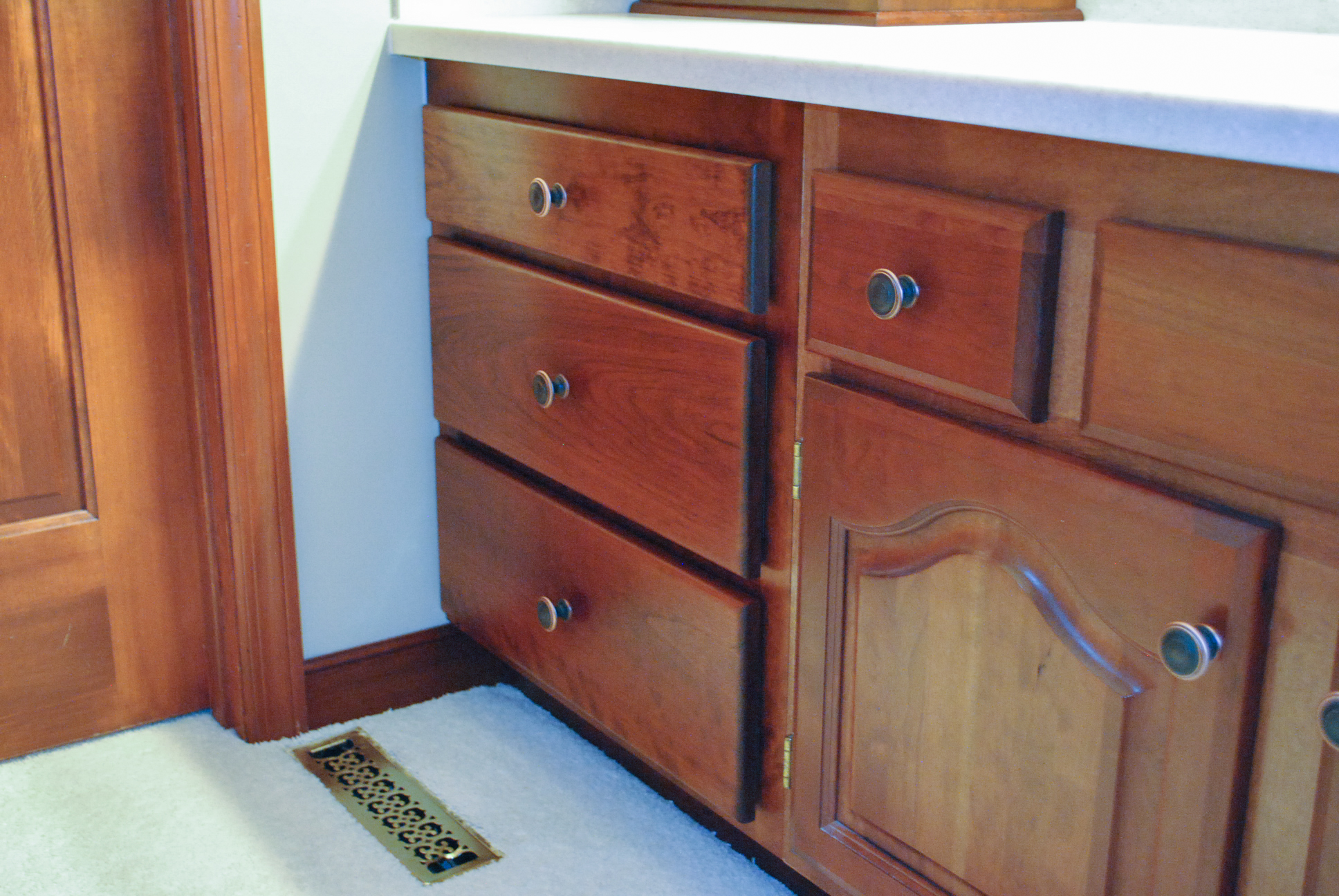 The drawer unit was stained and finished to match the existing cabinets.