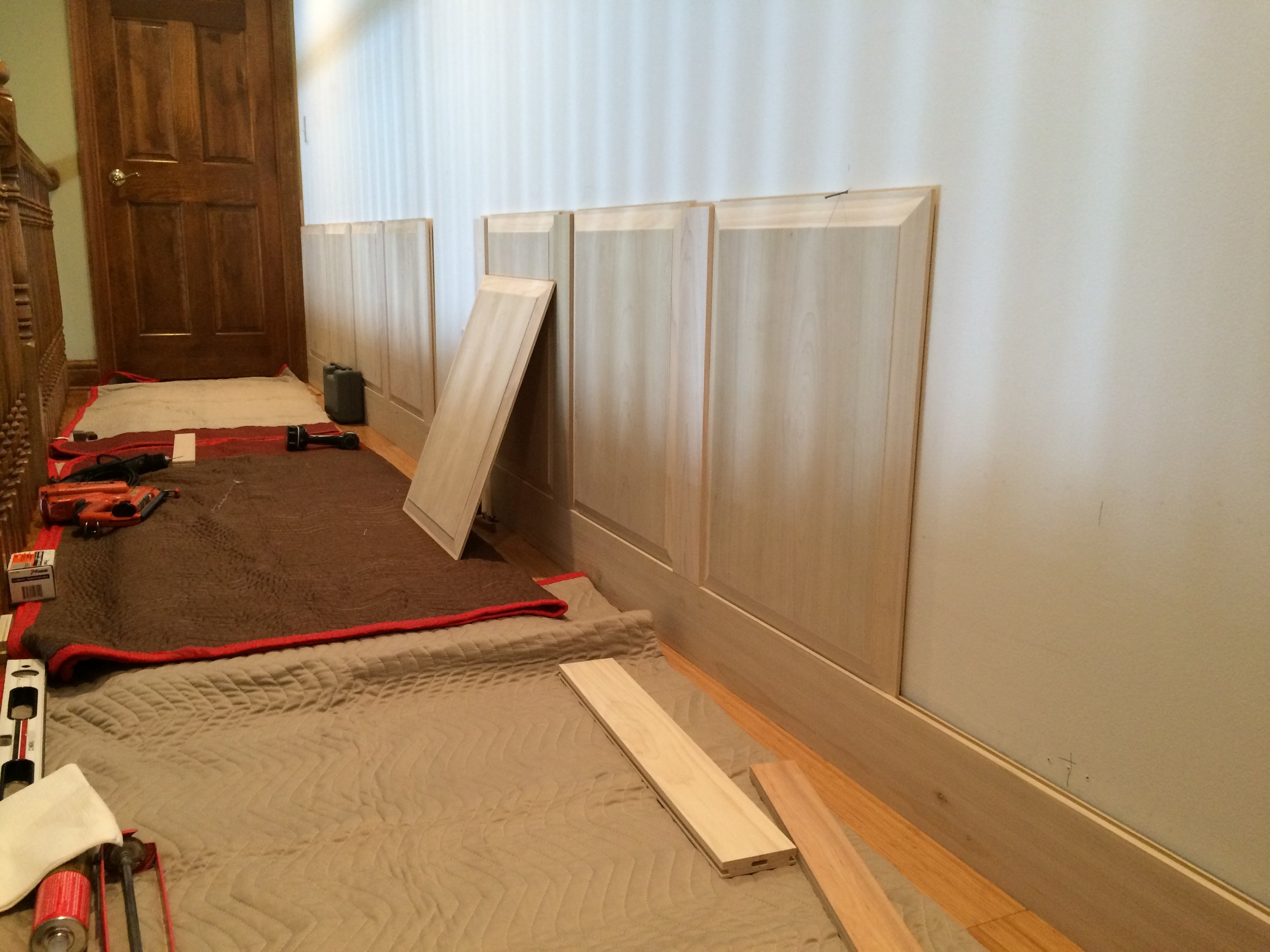 For this project we added wainscot to a long wall on the second floor and also along the stairs.
