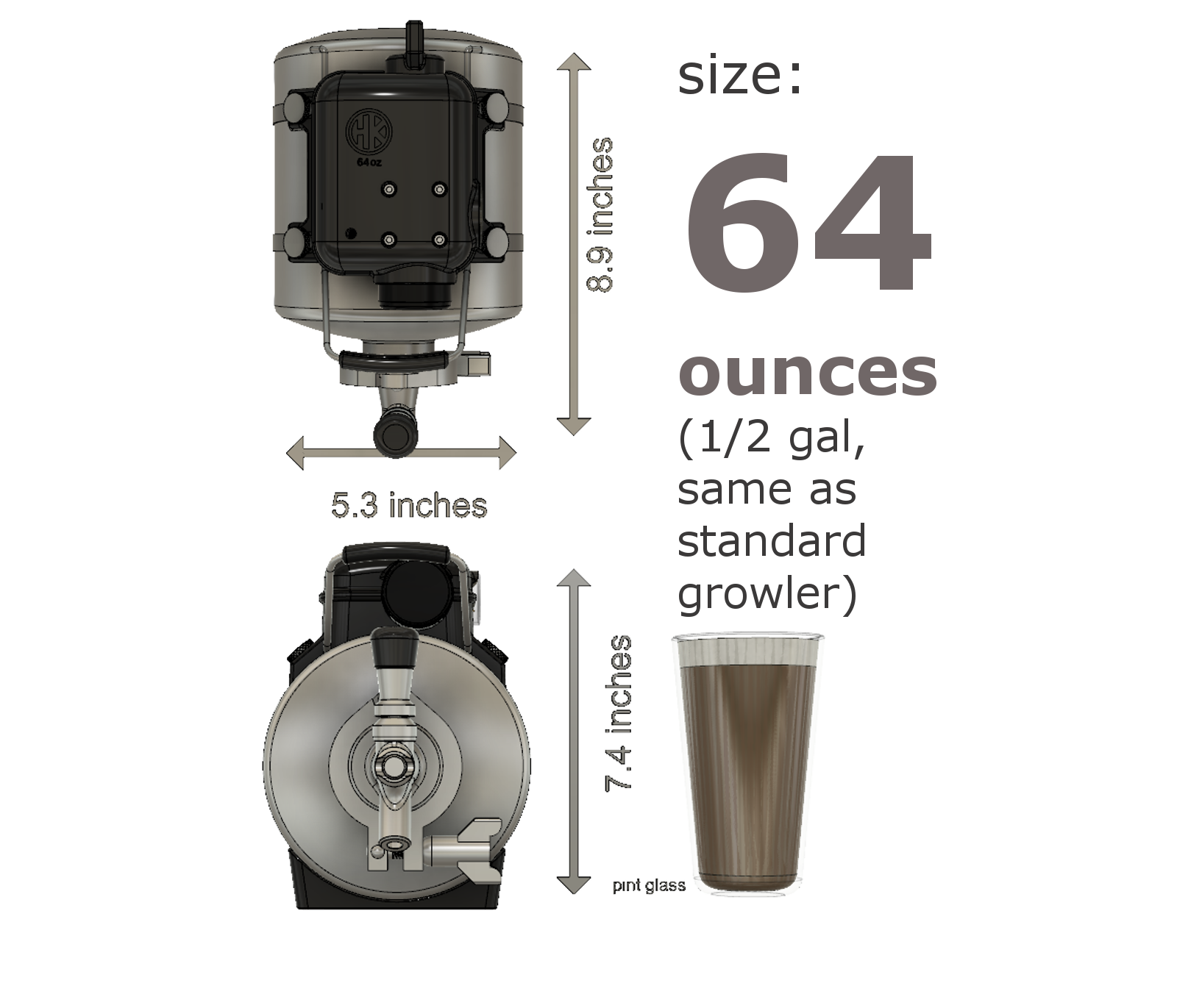 Dimensions of 64 oz Hendrix growler keg