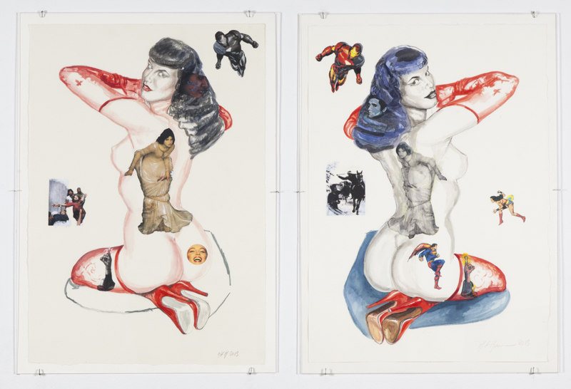 Margaret Harrison. You Looking at Me?, 2013. Watercolour on paper, 28 x 19 1/4 in each. Photograph: Casey Dorobek, courtesy of Ronald Feldman Fine Arts, New York.