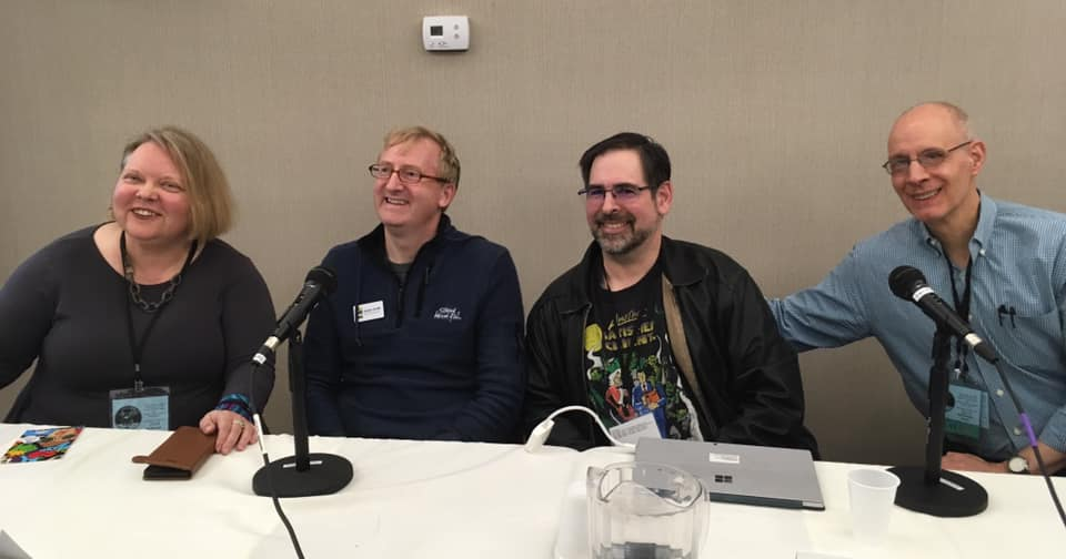 Kim Munson, Adam Smith, Rob Salkowitz, and Mark Schultz on the Splashing Ink on Museum Walls panel at San Diego Comics Fest, March 2019. Photo by Eunice Verstegen.