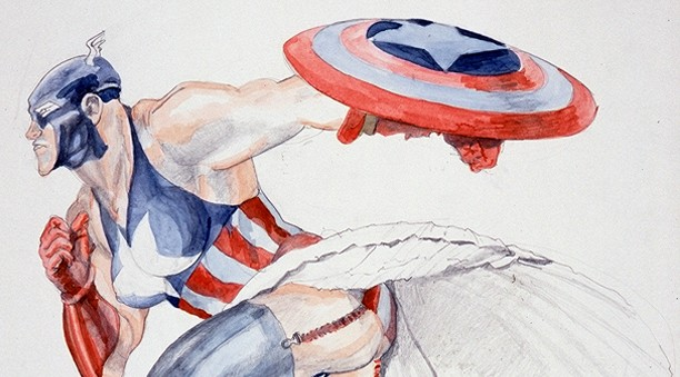 """Image Detail: """"Captain America 2,"""" 1999. Watercolor on paper by Margaret Harrison.   On Reflection: The Art of Margaret Harrison.  Available on  Amazon .  Barnes & Noble , and through Ingram (for wholesale booksellers). Art historical analysis of the life and work of the British activist artist Margaret Harrison. Overview of trends & techniques in her work, her continuing use of the Captain America character, an in depth discussion of her prize-winning painting  The Last Gaze , her family background & activism. Many pages of exclusive photos!  Review: Michael Dooley,   Print     - """"As police once forced Harrison's gallery owner to remove her paintings, the book's author, Kim Munson, had been forced by Apple not long ago to remove """"objectionable"""" cartoons from an underground comix history iPhone app she'd produced  [story here] . This and other commonalities, such as a shared passion for workers' rights, make Munson's accompanying commentary and interviews with the artist empathetic and engaging as well as informative.""""  ISBN #'s: Hardback: 9780996314503 