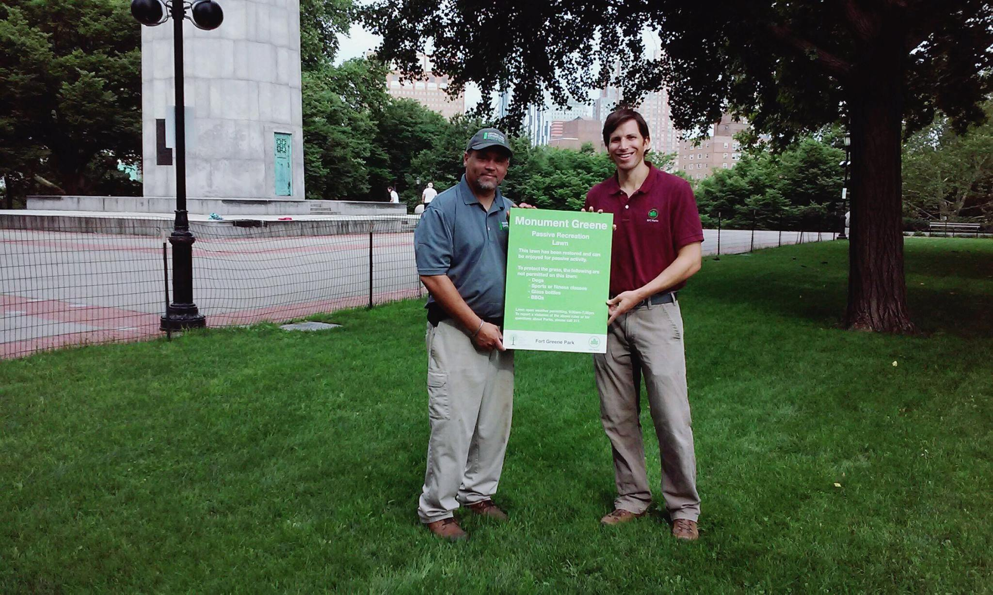Park Director David Barker and Central Park Conservancy's Jose Figueroa opening Monument Greene Passive Recreation Lawns, one of the many projects David's led as Park Director.