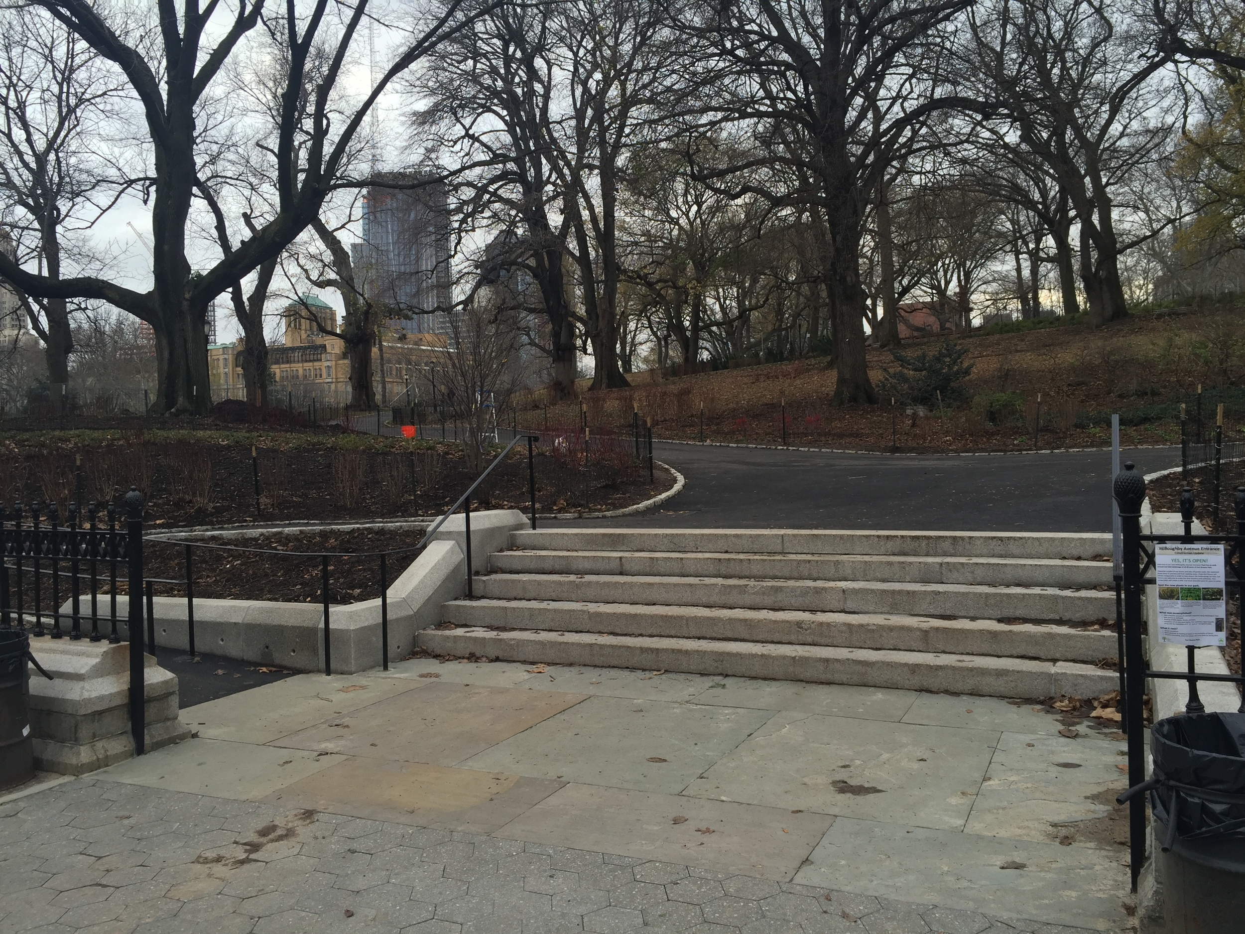 The new and improved Willoughby Avenue Entrance on the eastern side of the Park.