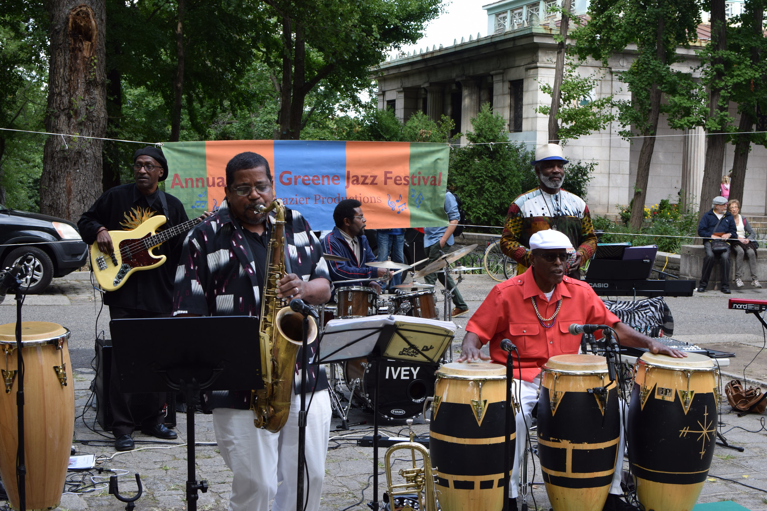 Erica Frazier, on congas, at the second series of the 8th Annual Fort Greene Park Jazz Festival.