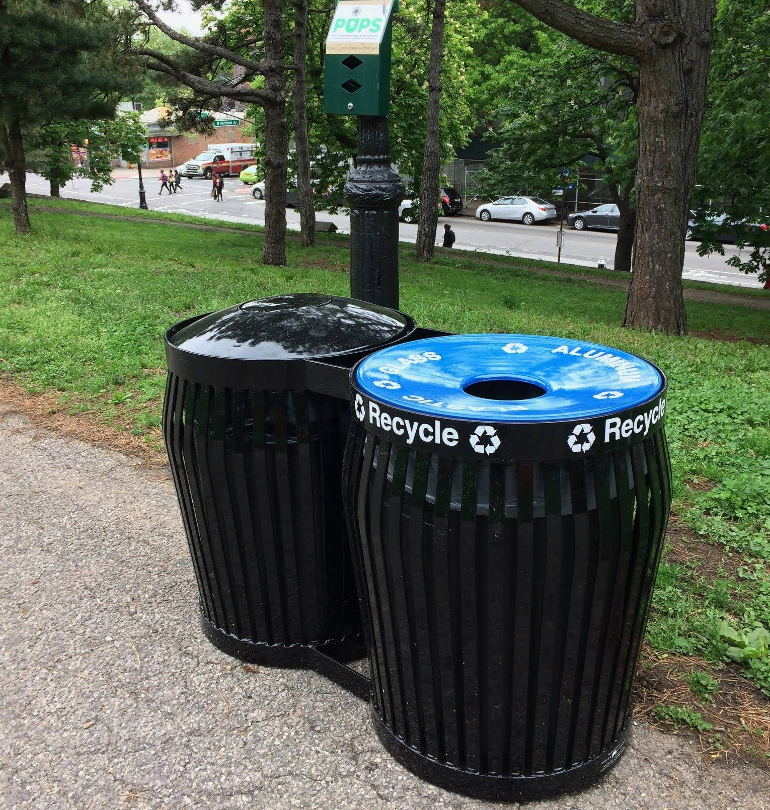 The introduction of recycling reduces the amount of waste sent to out of state landfills. Please recycle all metal, rigid plastics, and glass bottles in the blue receptacles.