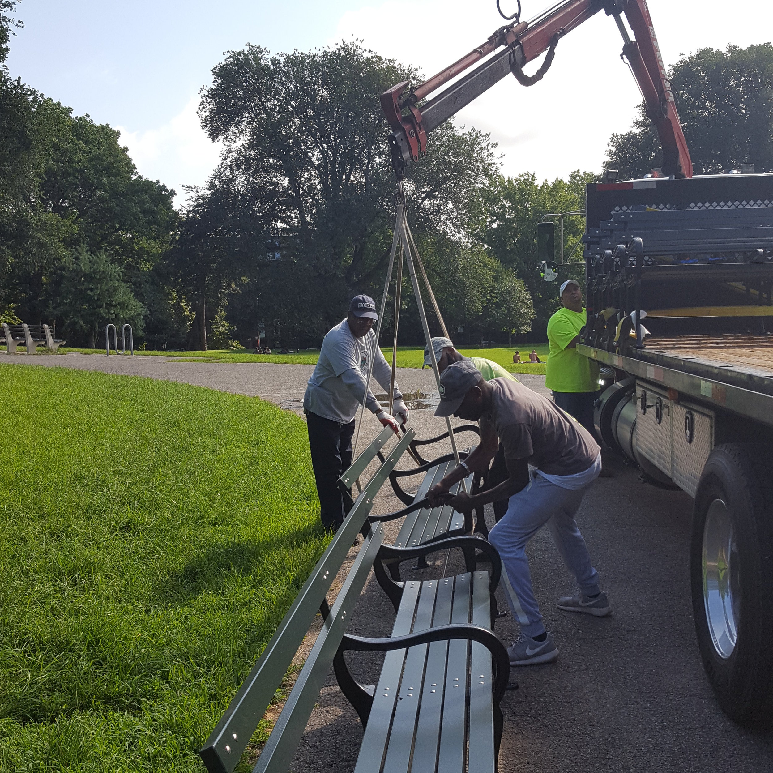 Navigating our hilly terrain can be hard work. The Fort Greene Park Conservancy installed new benches to allow for rest and contemplation.