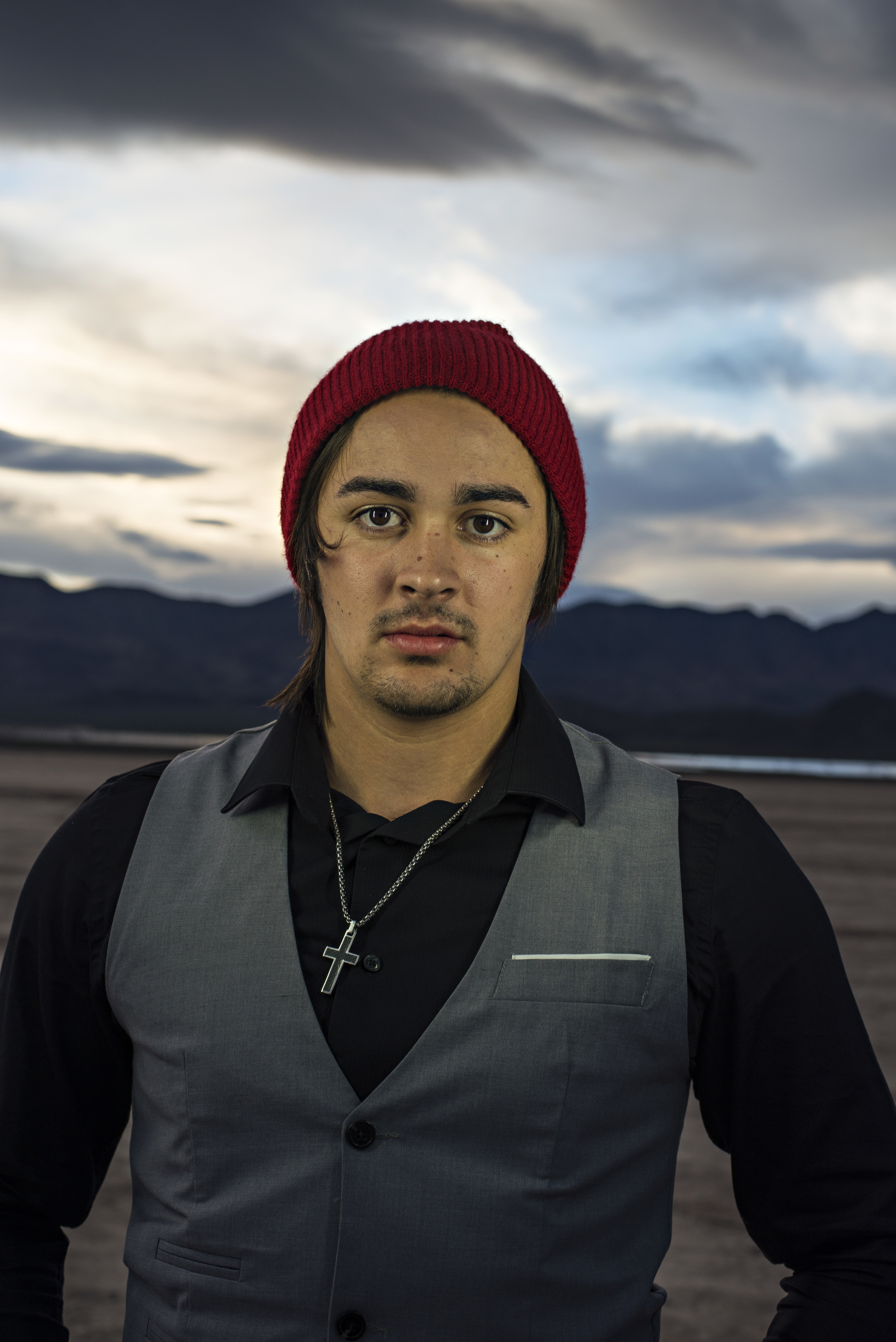 Grunge Guy from Roseburg Oregon with red beanie in Nelson, Las Vegas.