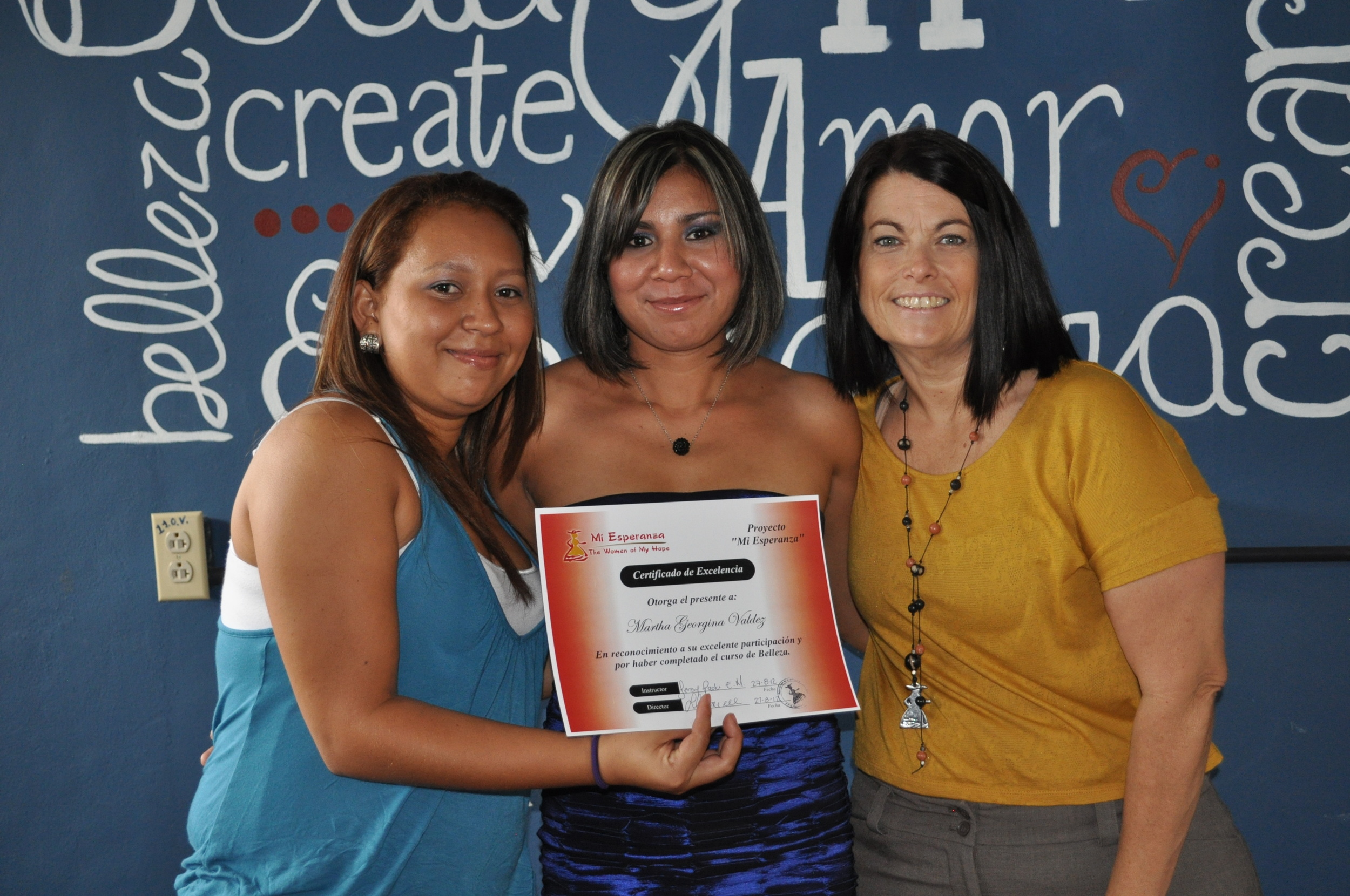 graduation day August 2012 with instructor Paola and co-founder Lori Connell