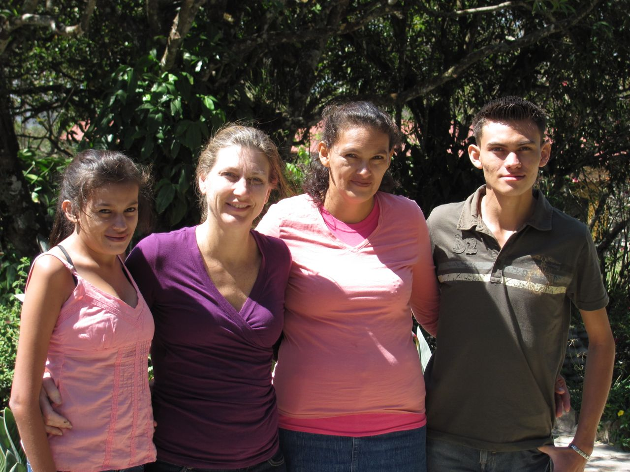 Julie Lawson w/ Maria and Denia our jewelry making team from Choluteca, Honduras L to R  Denia, Julie, Maria and Alexander
