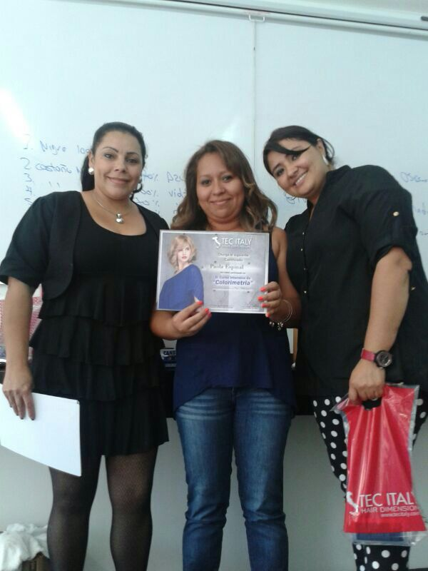 graduating top of her class at TECH Italy continuing education advance color course 2014