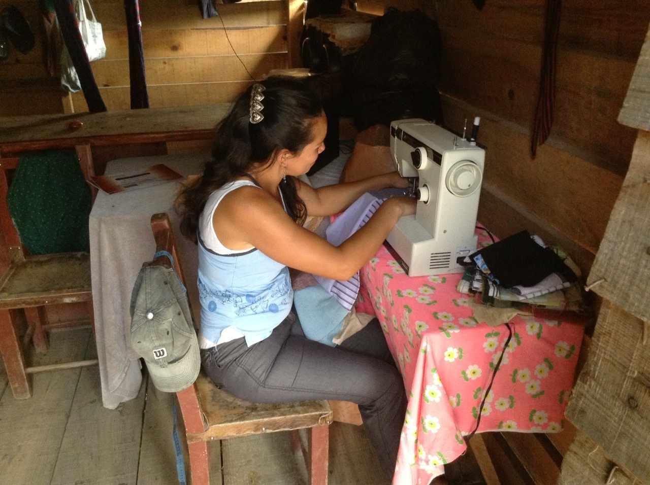 Glenda at work in her home business.