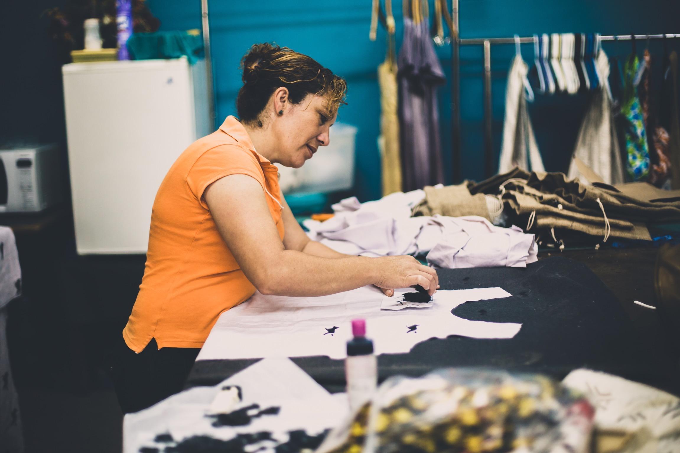 Aracely handstamping Arrowroot dresses