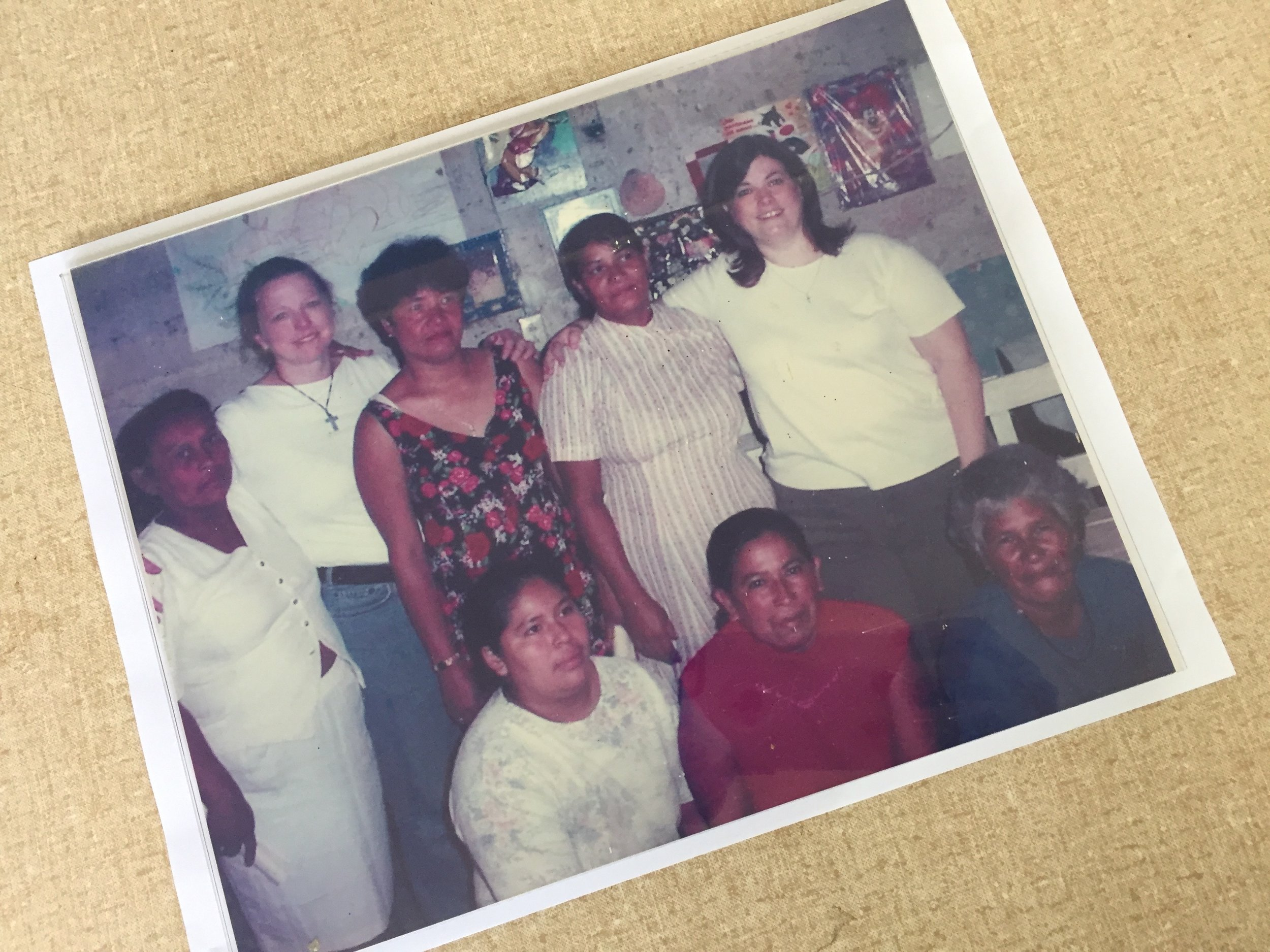 2002/Founders Lori Connell and Janet Hines with the first 6 Mi Esperanza women