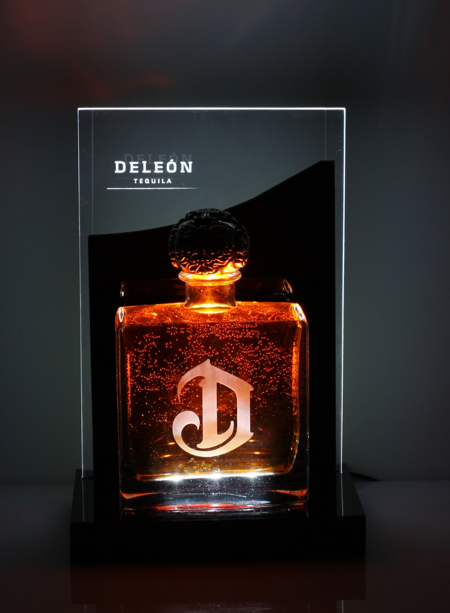 DeLeon Bottle Glorifier Edge Glow Back Bar Front View.JPG
