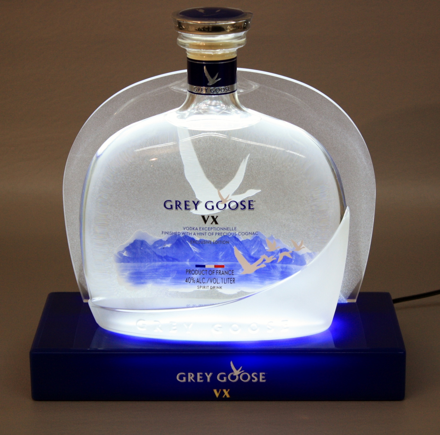 Grey Goose GlorifierNew Shaped Bottle Blue Base Etched Acrylic Back Panel.JPG