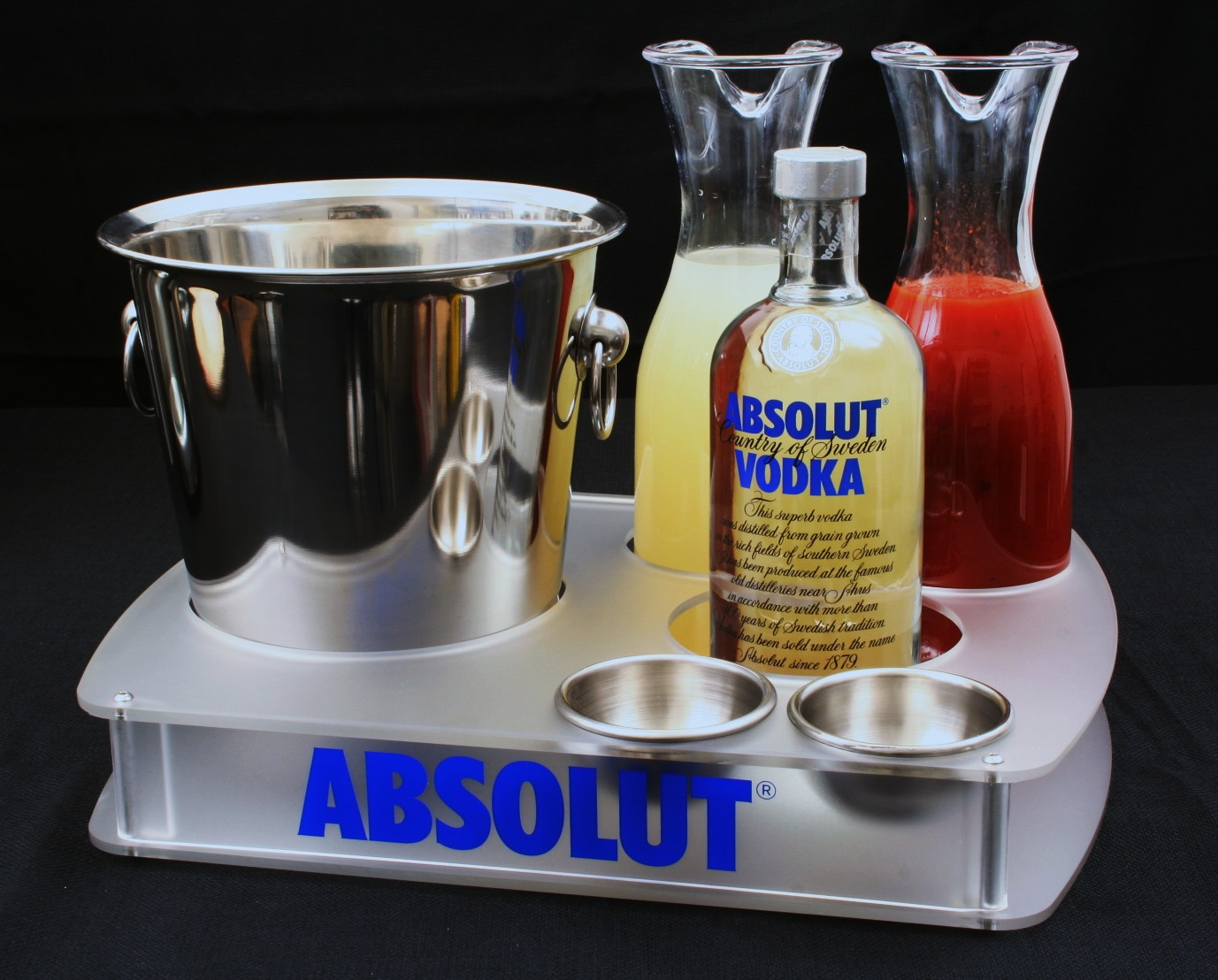 Absolut Bottle Tray 2Carafes Frosted Acrylic Branded.JPG