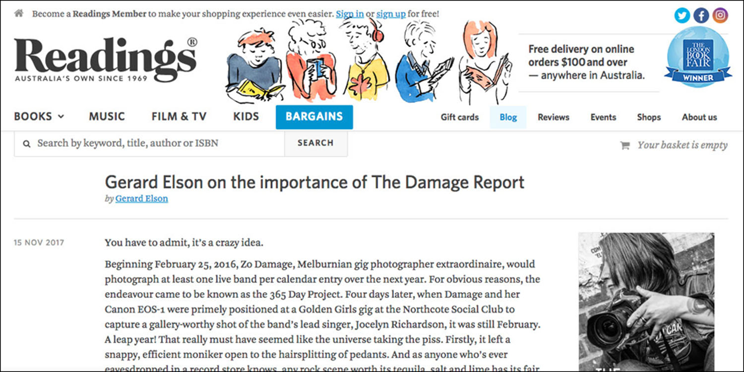 Gerald Elson [Readings Books] reviews  The Damage Report.