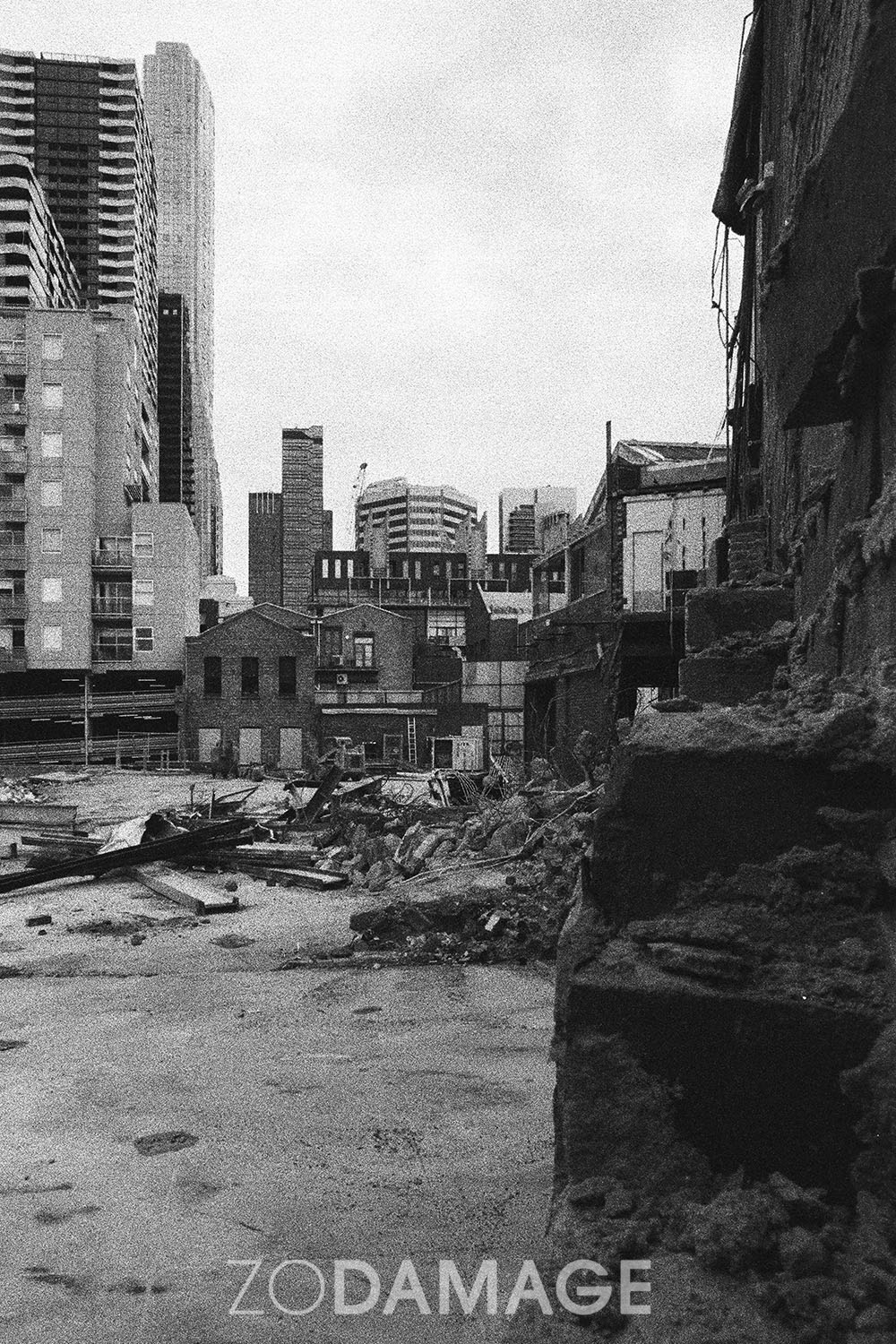 Progress? Demolition or development?  Therry St, Melbourne, 2019 Photographed with Canon AE1 on Ilford Delta 3200. Negative developed by me with love.