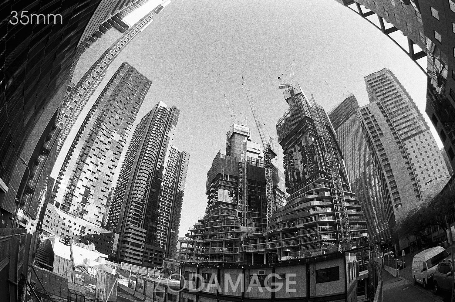 Progress Demolition or Development (II) June 2019 Shot using Canon EOS 3 with Sigma Fisheye on Ilford HP5 Plus (35mm). Negatives processes by Zo with love.