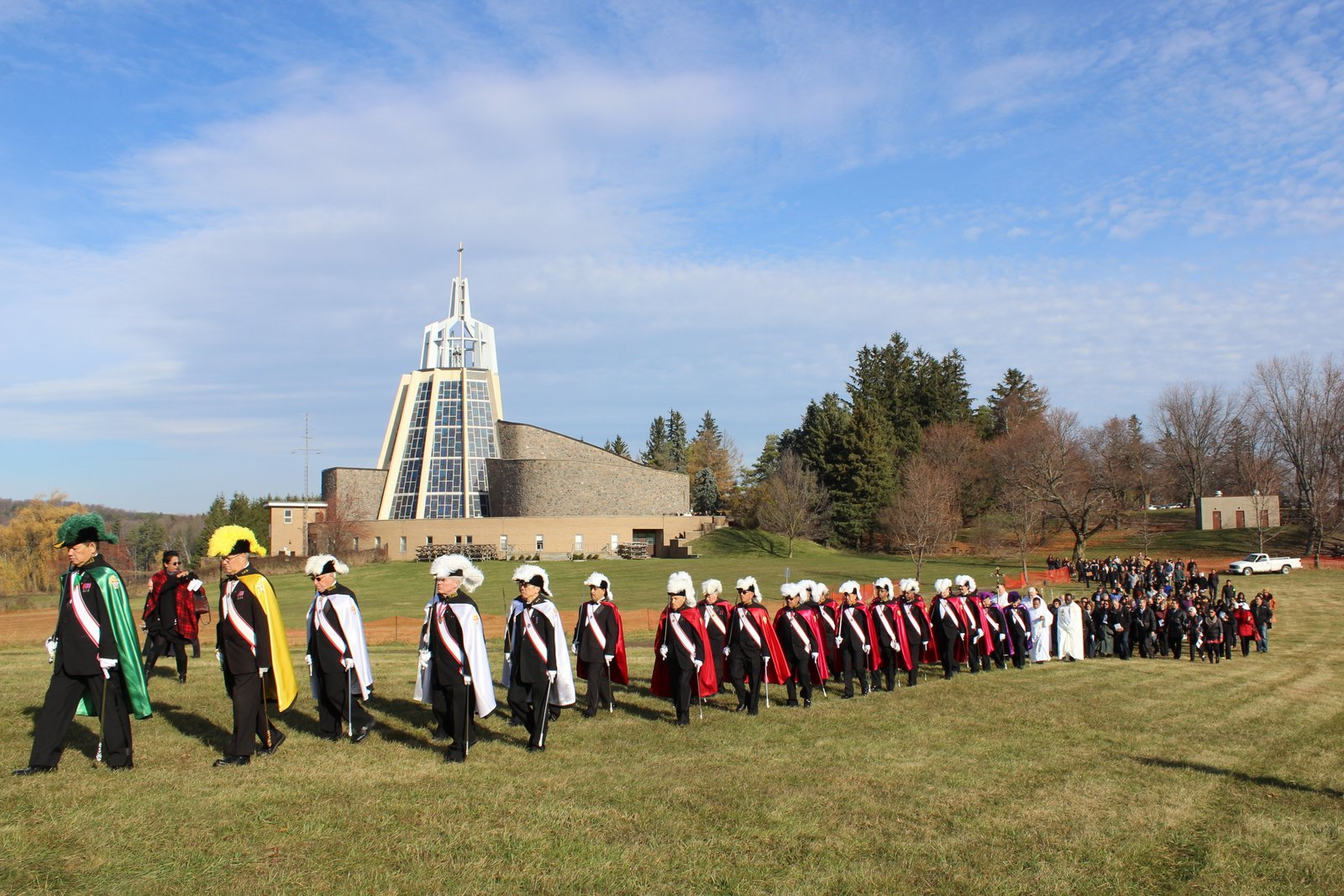 A solemn procession on the grounds of Marylake Monastery leads to the blessing of the Great Crucifix.