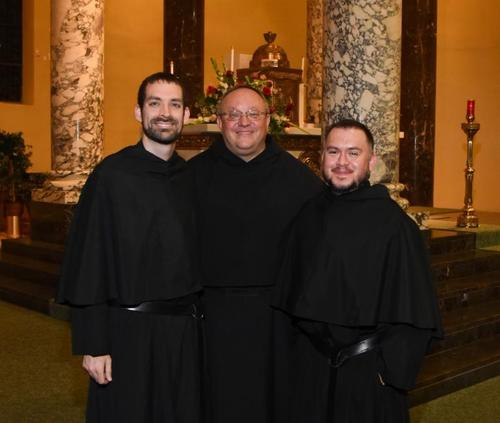 Brother Stephen Isley, O.S.A. (left); and Brother Joe Ruiz, O.S.A. (right) with the Augustinian Provincial of the Midwest, the Very Rev. Bernard C. Scianna, O.S.A., Ph.D.