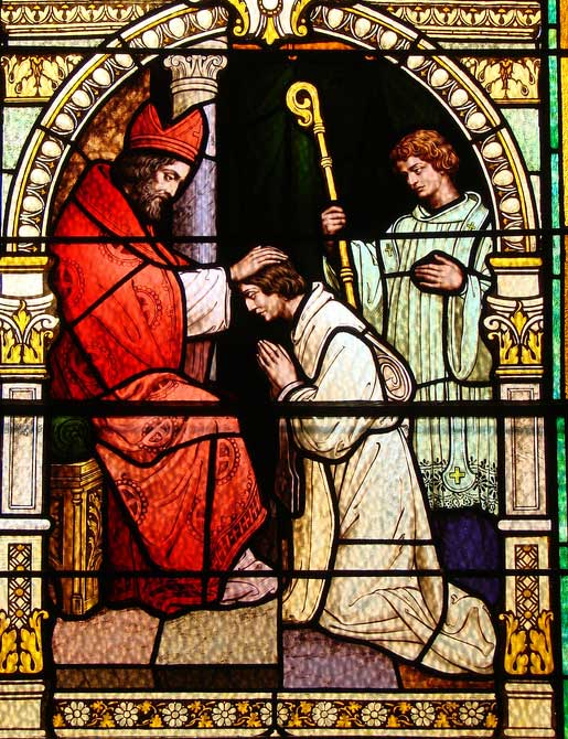 Archbishop Ambrose of Milan is seen here receiving a young Augustine