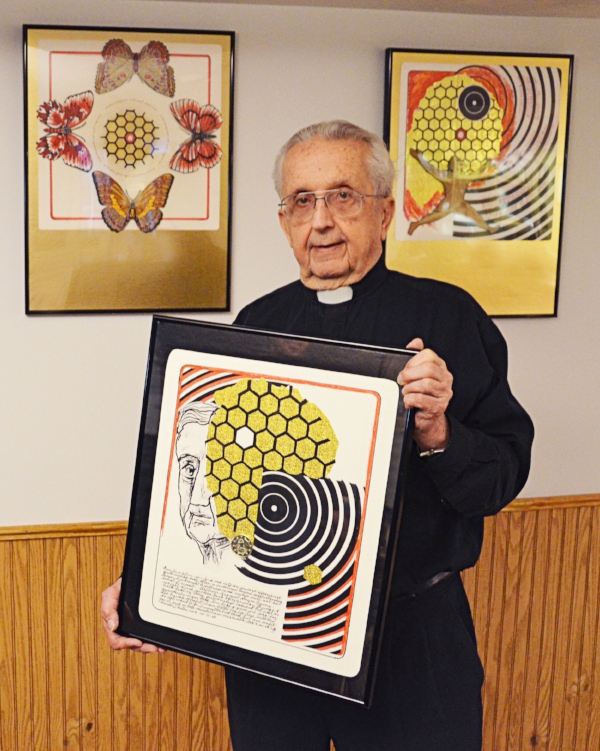 """Fr. Bates with three pieces from his series """"Wedding of Word & Image"""""""