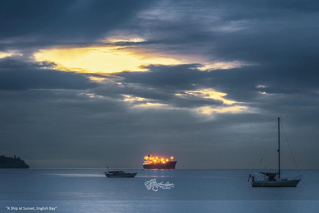 """""""A Ship at Sunset"""" English Bay, Vancouver"""