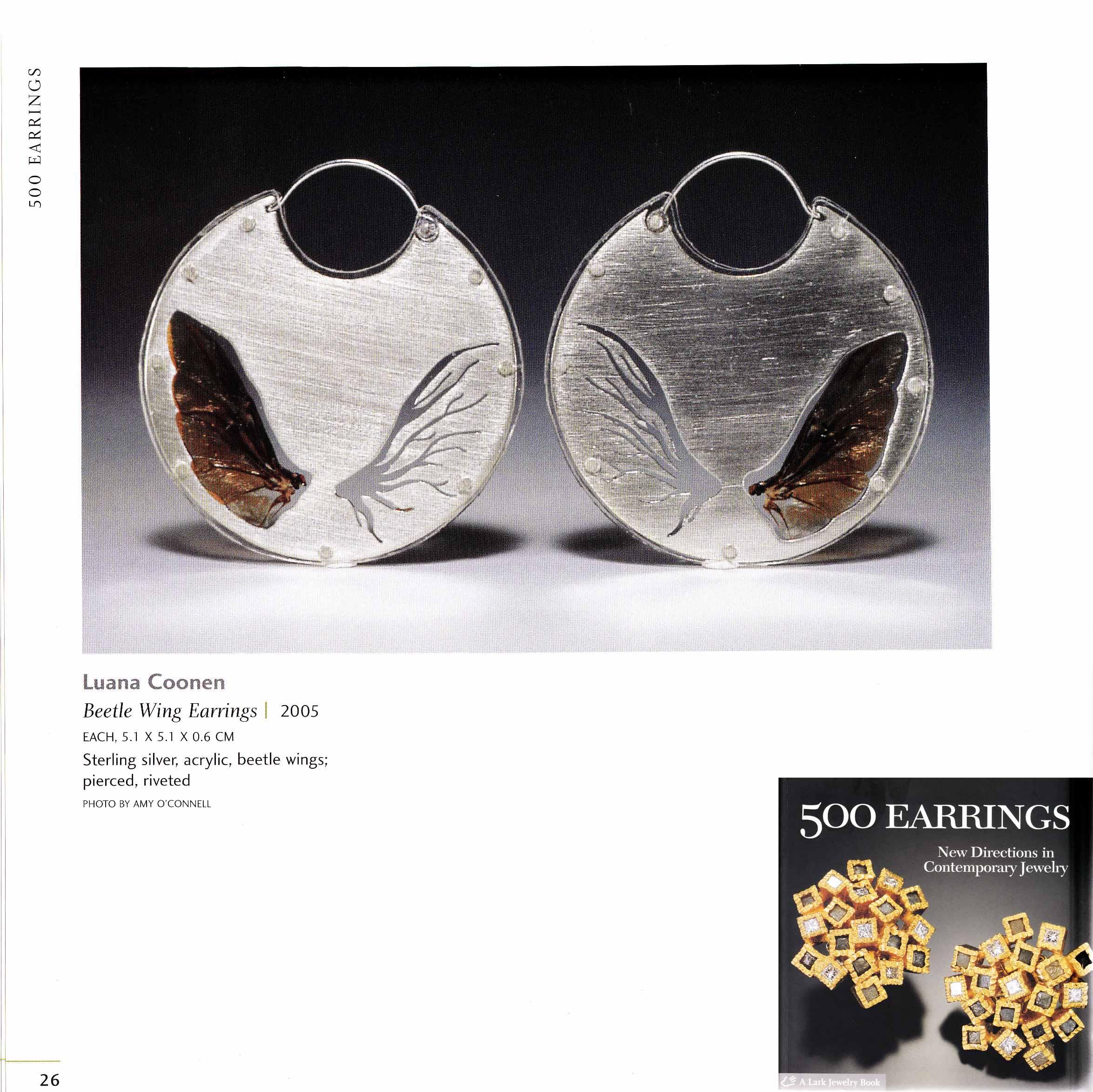 """""""Beetle Wing Earrings"""" featured in  500 Earrings  publication"""