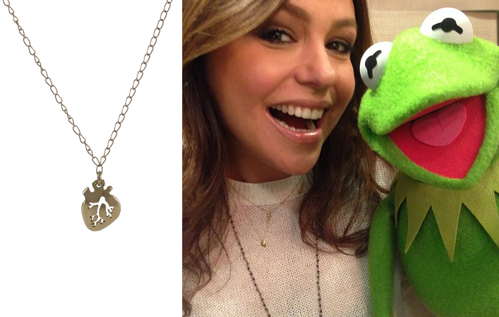 "Rachel Ray wearing ""Mini Gold Heart"" necklace on  The Rachel Ray Show"