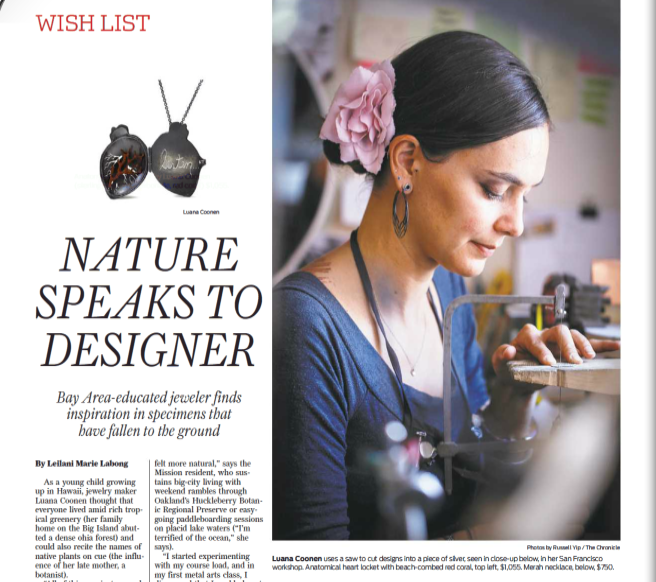 """SF Chronicle Feature """"Nature Speaks to Designer"""""""