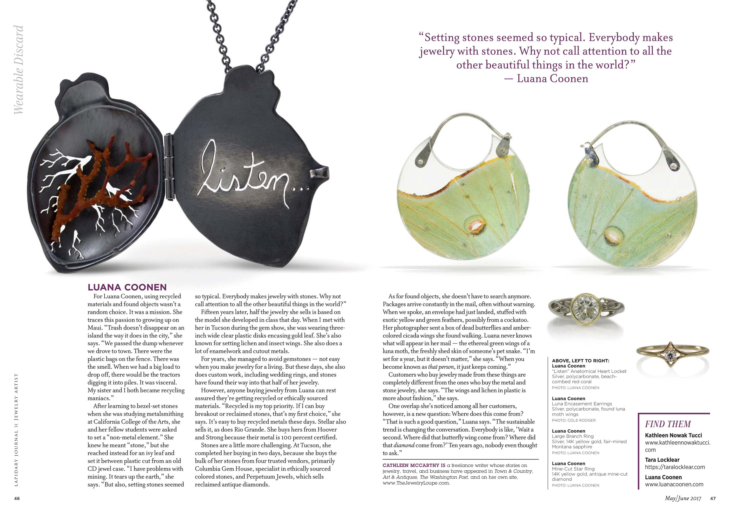 """Lapidary Journal/Jewelry Artist Magazine: """"Wearable Discard"""", two page feature"""
