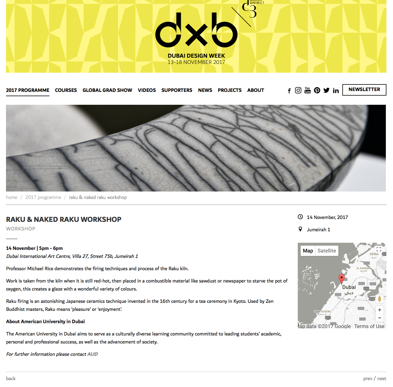 Demonstrating the Raku Kiln during Dubai Design Week 2017
