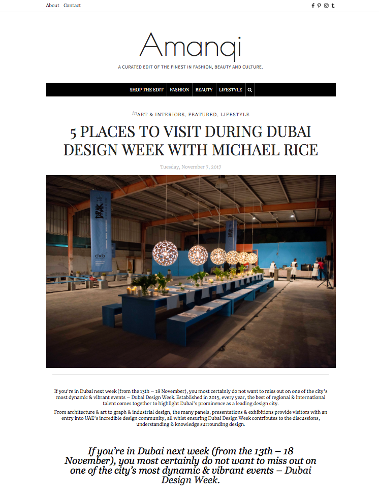 My top 5 visits for Dubai Design Week 2017 thanks to:  http://theamanqiedit.com/