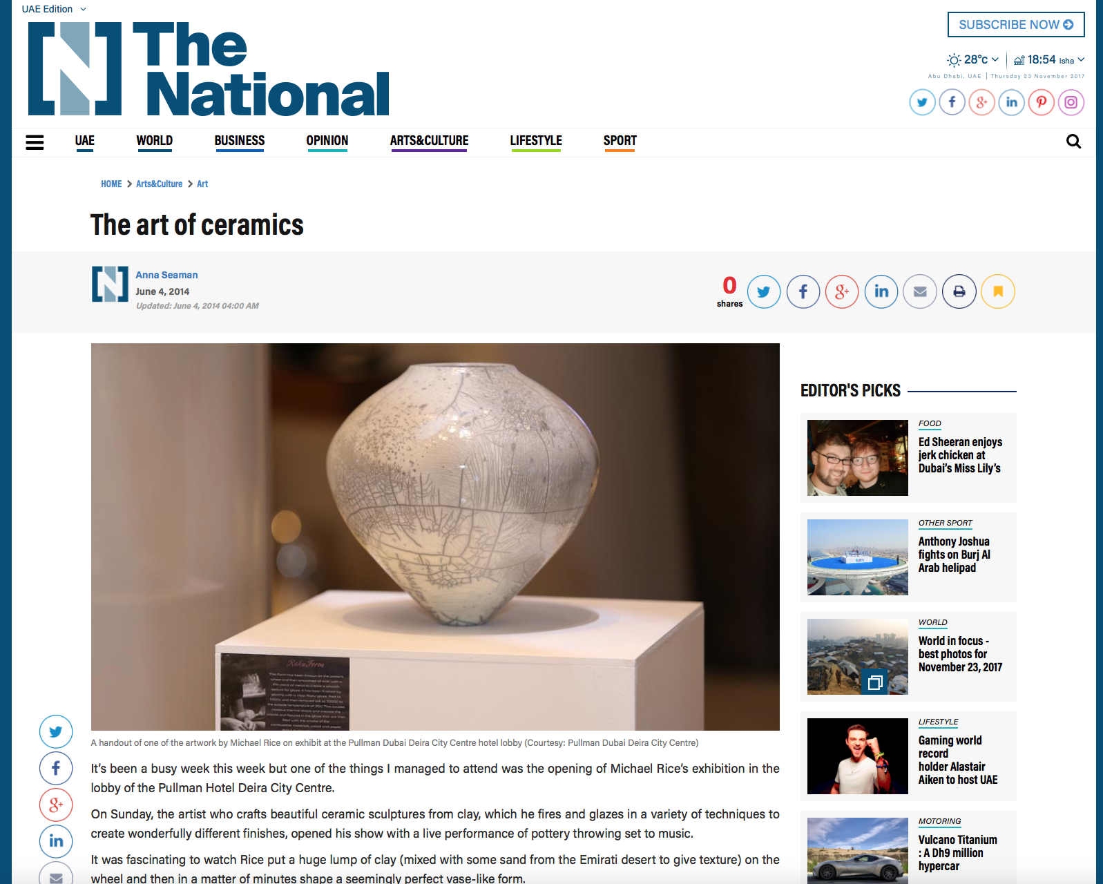 Featured in 'The National'