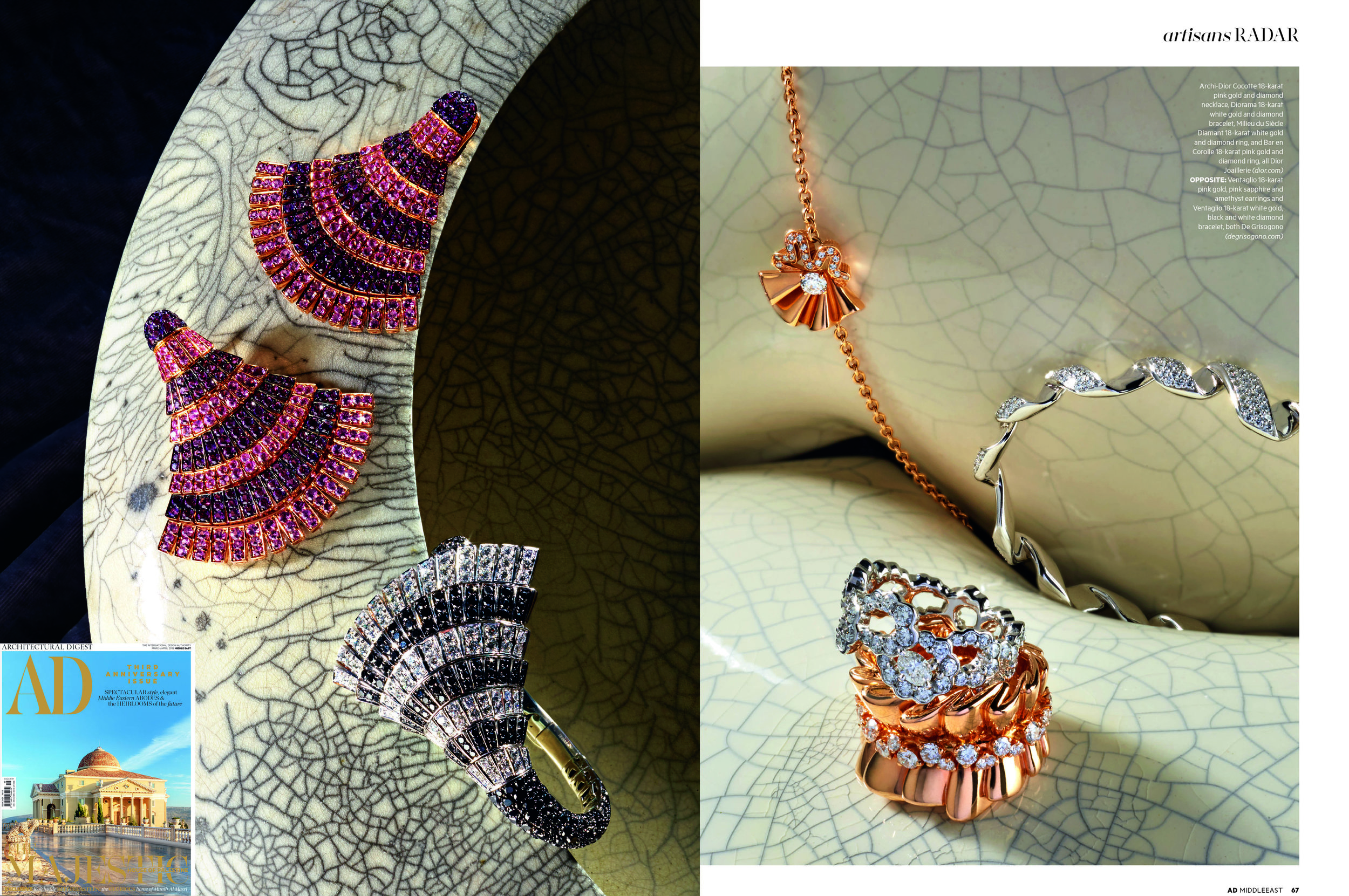 As featured in AD Middle East 3rd anniversary edition with high jewelery from Dior Joaillerie  (dior.com)  and De Grisogono  (degrisogono.com)