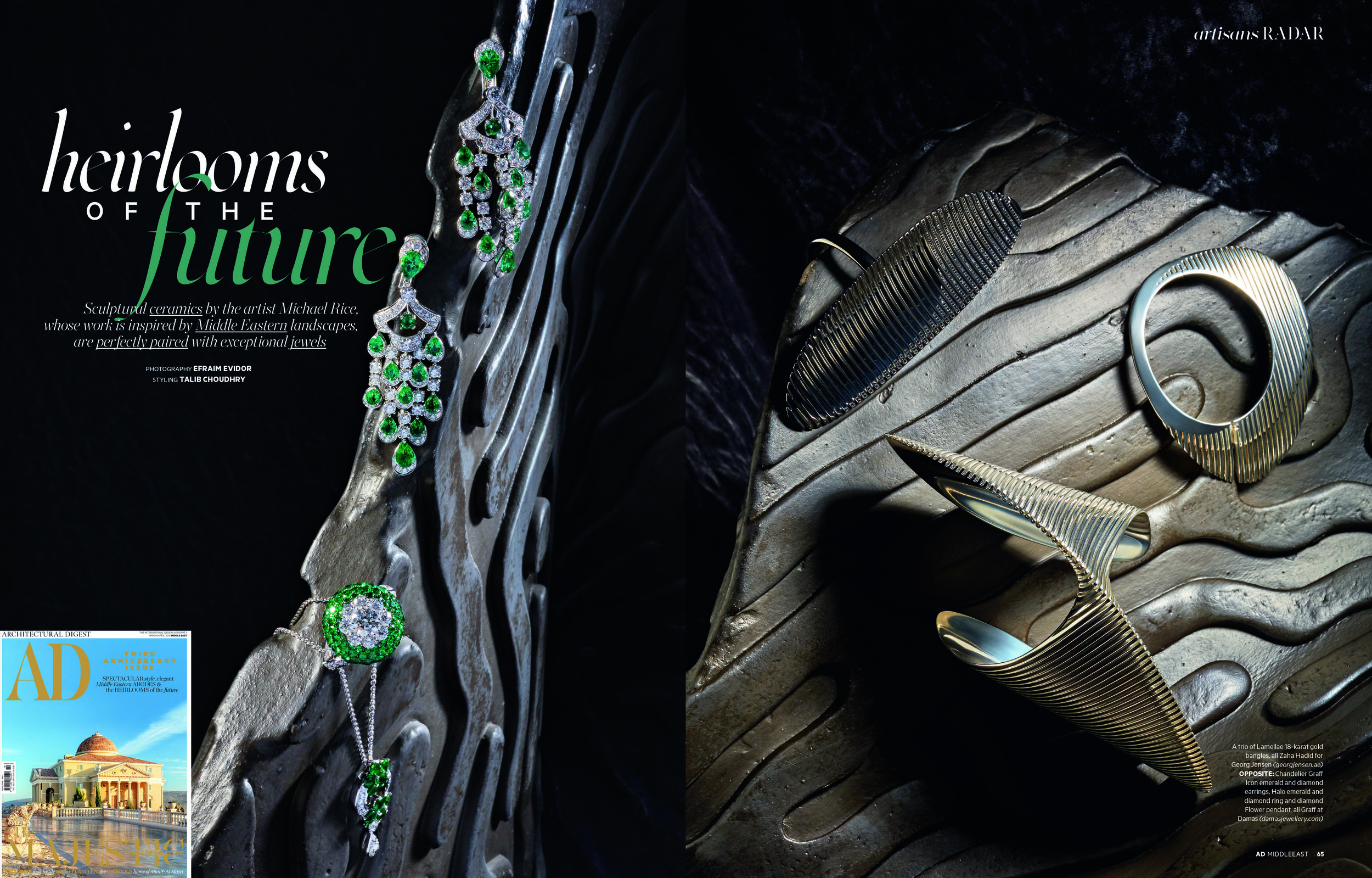 As featured in AD Middle East 3rd anniversary edition with high jewellery -Zaha Hadid for Georg Jensen  (georgjensen.ae) and Chandelier Graff