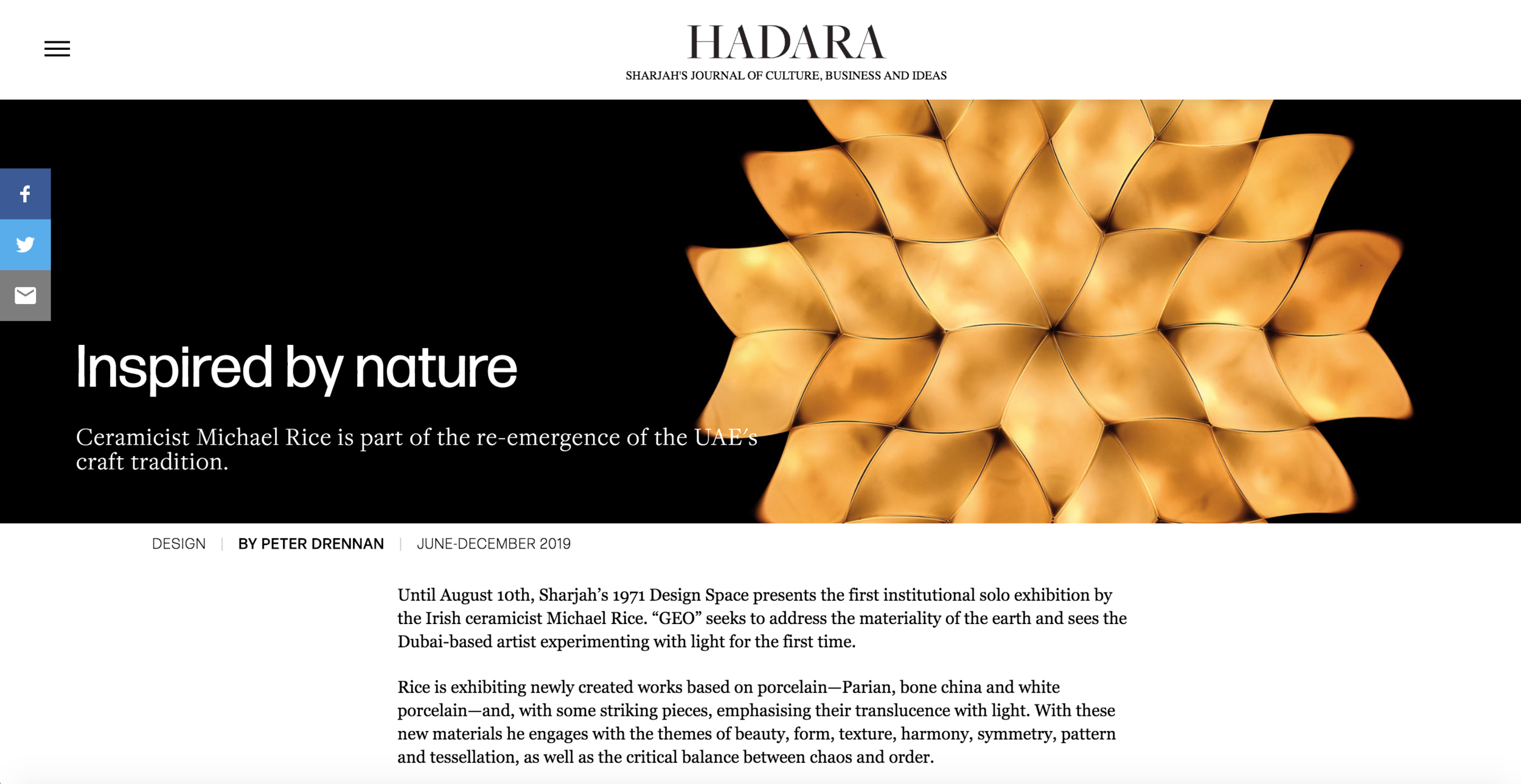 """Featured in the inaugural edition of """"Hadara"""" - SHARJAH'S JOURNAL OF CULTURE, BUSINESS AND IDEAS   https://hadaramagazine.com/june2019/michael-rice/"""
