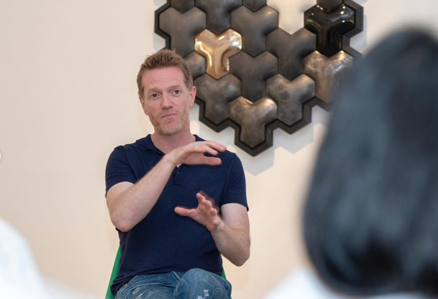 """Michael Rice in conversation with Jacques Kaufmann, Emeritus President of the International Academy of Ceramics, in Conversation the """"Geo"""" Exhibition on the 15th June 2019"""