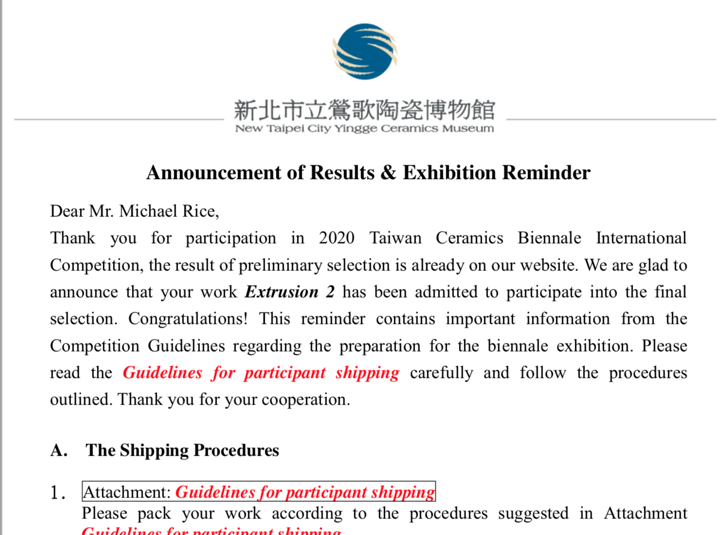 Thrilled to have selected as a finalist for the Taiwan Ceramic Biennale 2020!