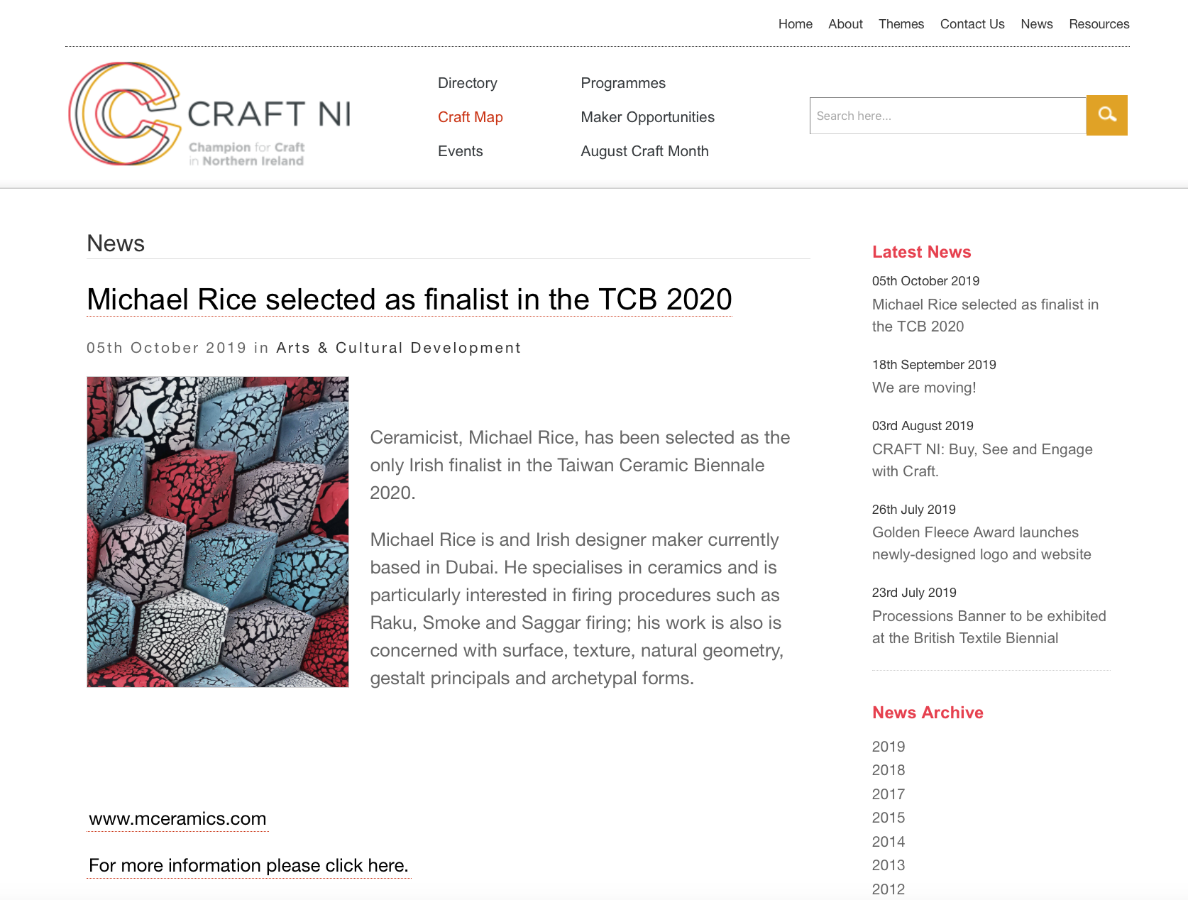 http://www.craftni.org/news-article/michael-rice-selected-as-finalist-in-the-tcb-2020  Craft NI posting my selection as a finalist for the Taiwan Ceramic Biennale 2020