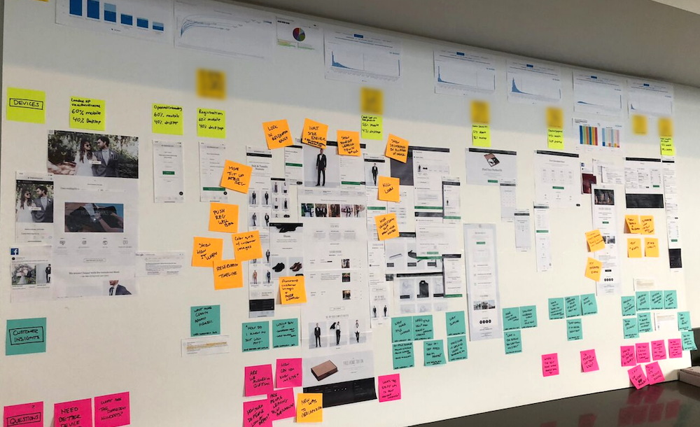 Board of post-its used in discovery process