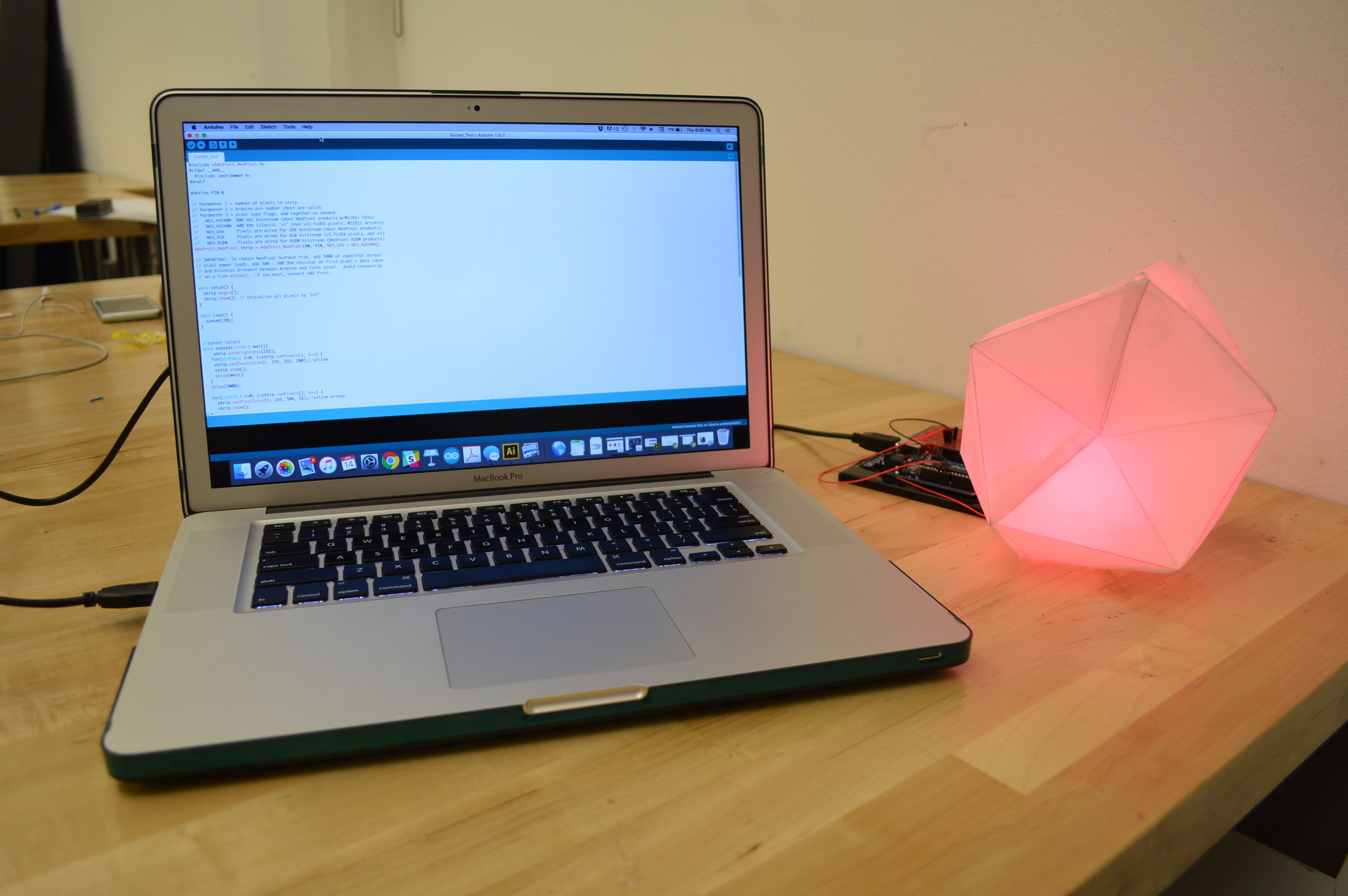 ARDUINO PROTOTYPE:  One of my early paper prototypes using arduino and neopixel to mimic the sunset.