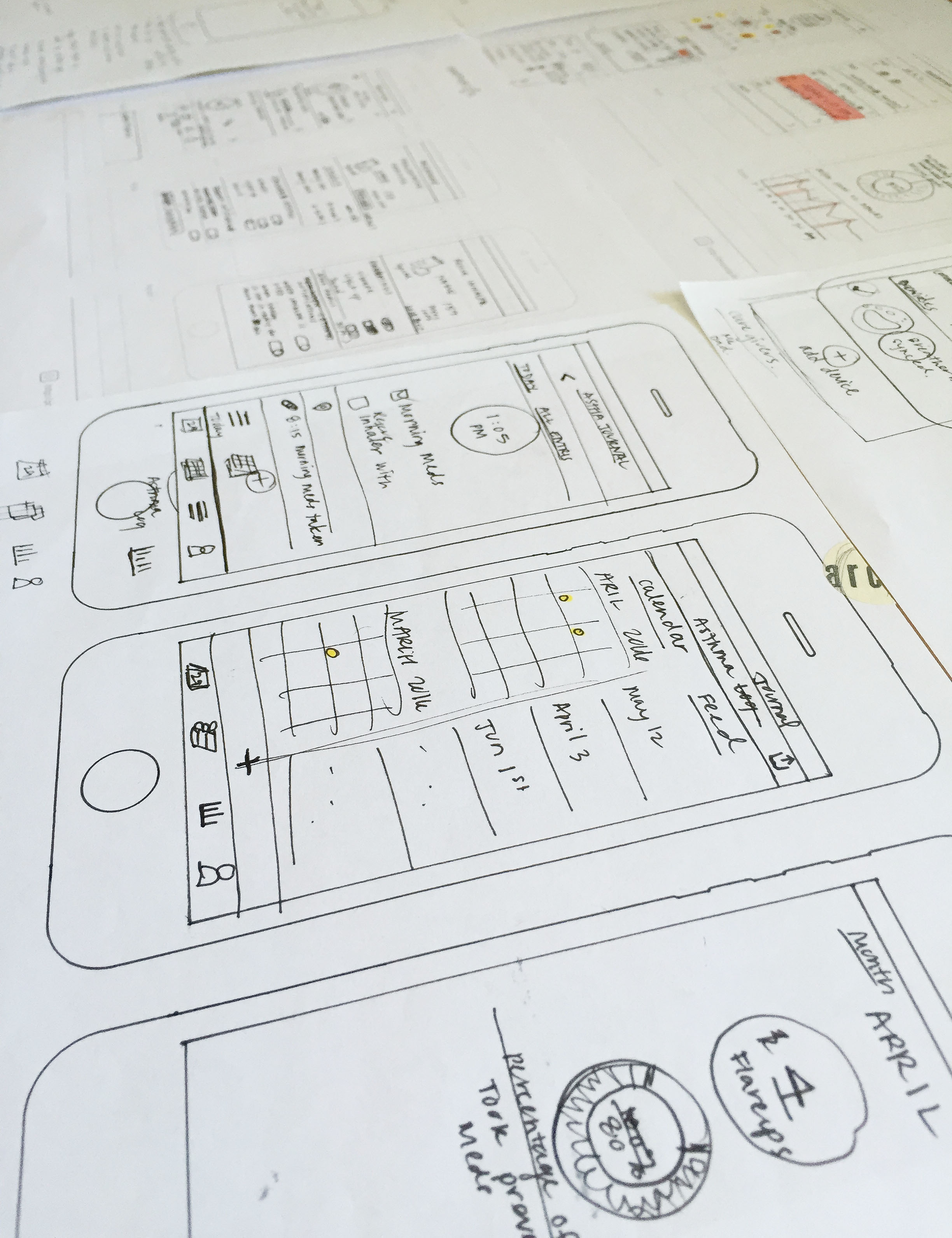 SKETCHING:  I used sketching to test out different layouts for a mobile application, which helped me to narrow down the functional elements essential a minimum viable product