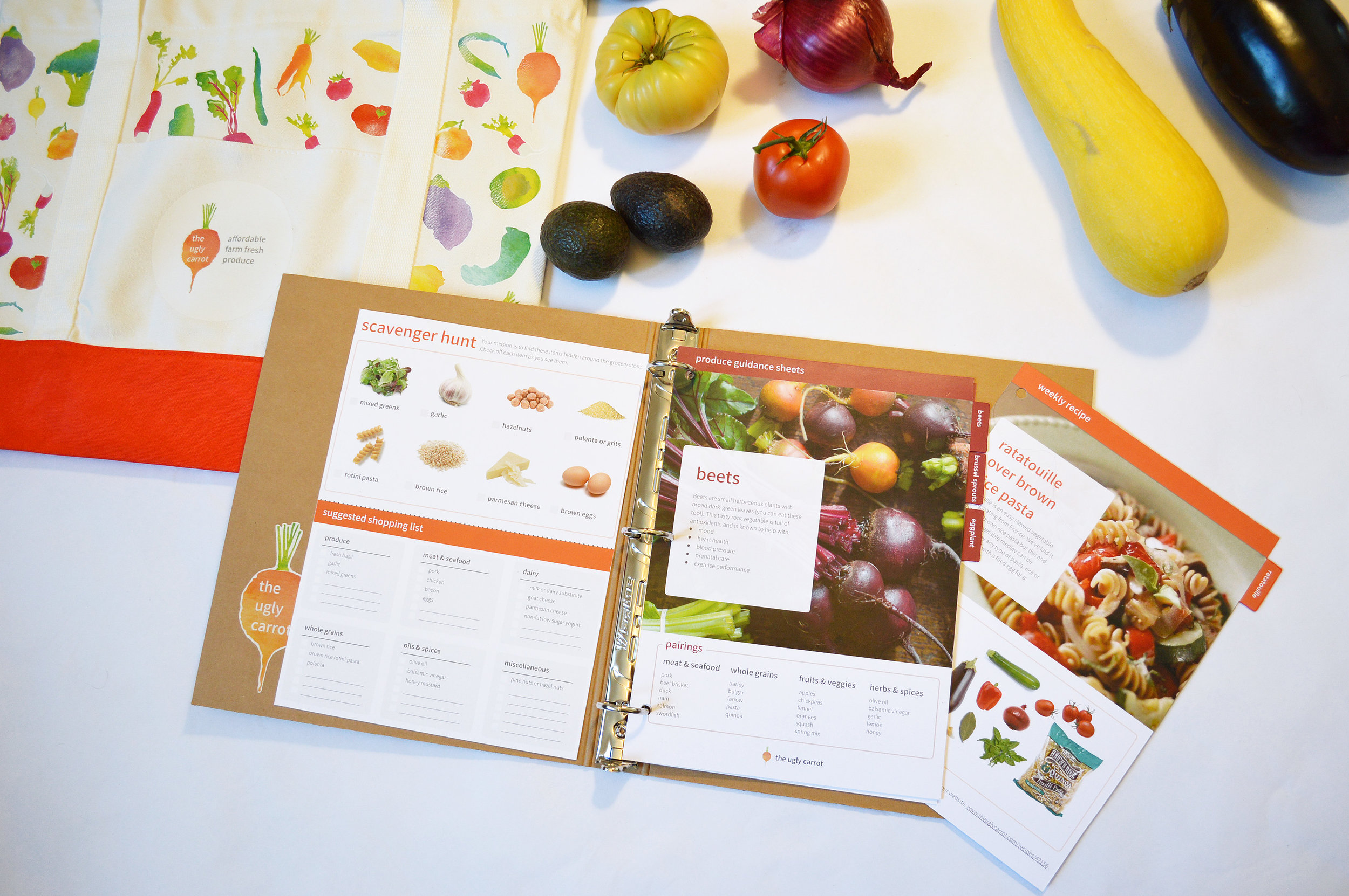 GUIDANCE MATERIALS:   I created produce guidance sheets, recipes and shopping guides to help customers get the most out of each weeks delivery.